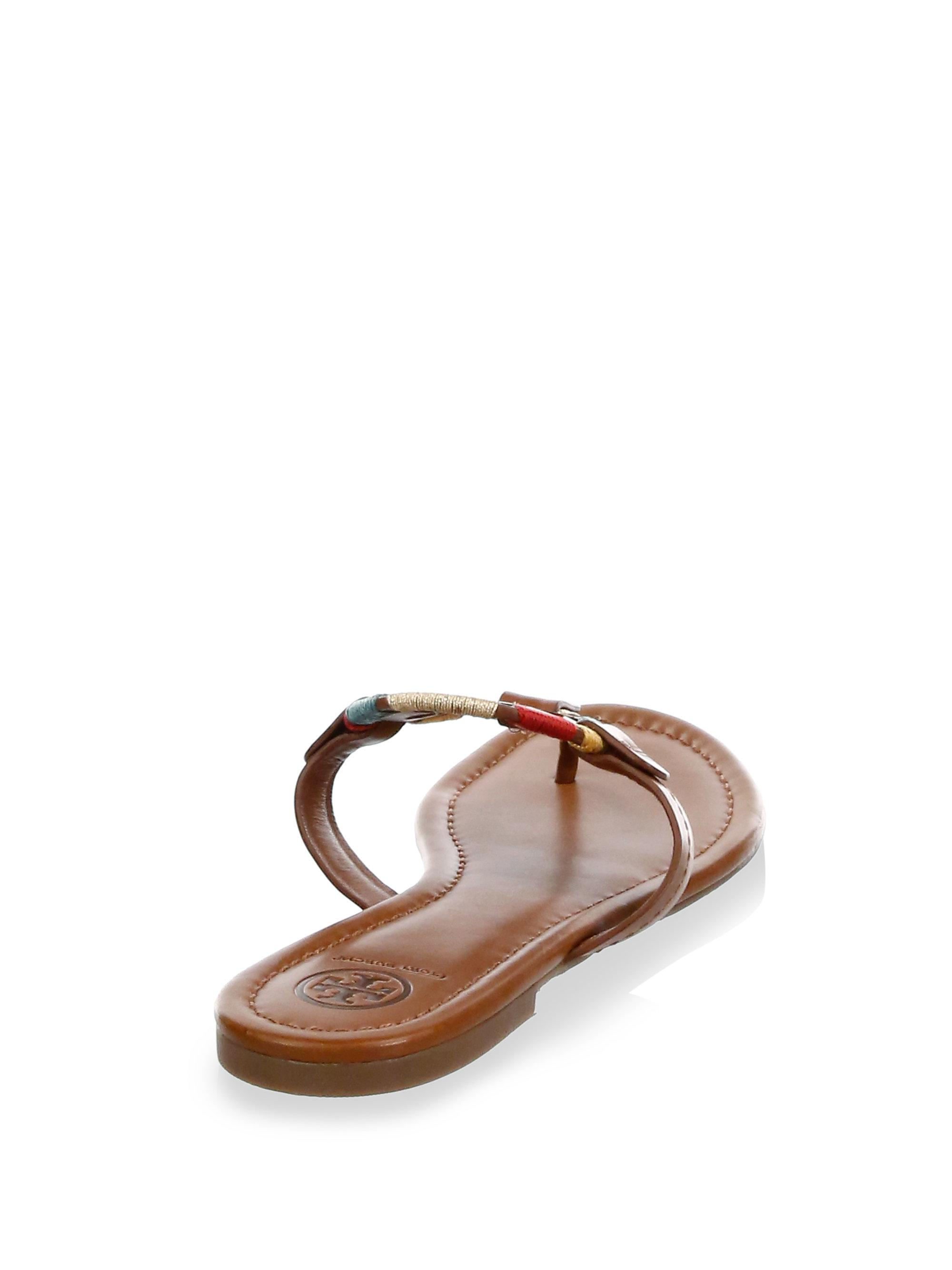 088773b3362da Lyst - Tory Burch Miller Embroidered Thong Sandals in Brown