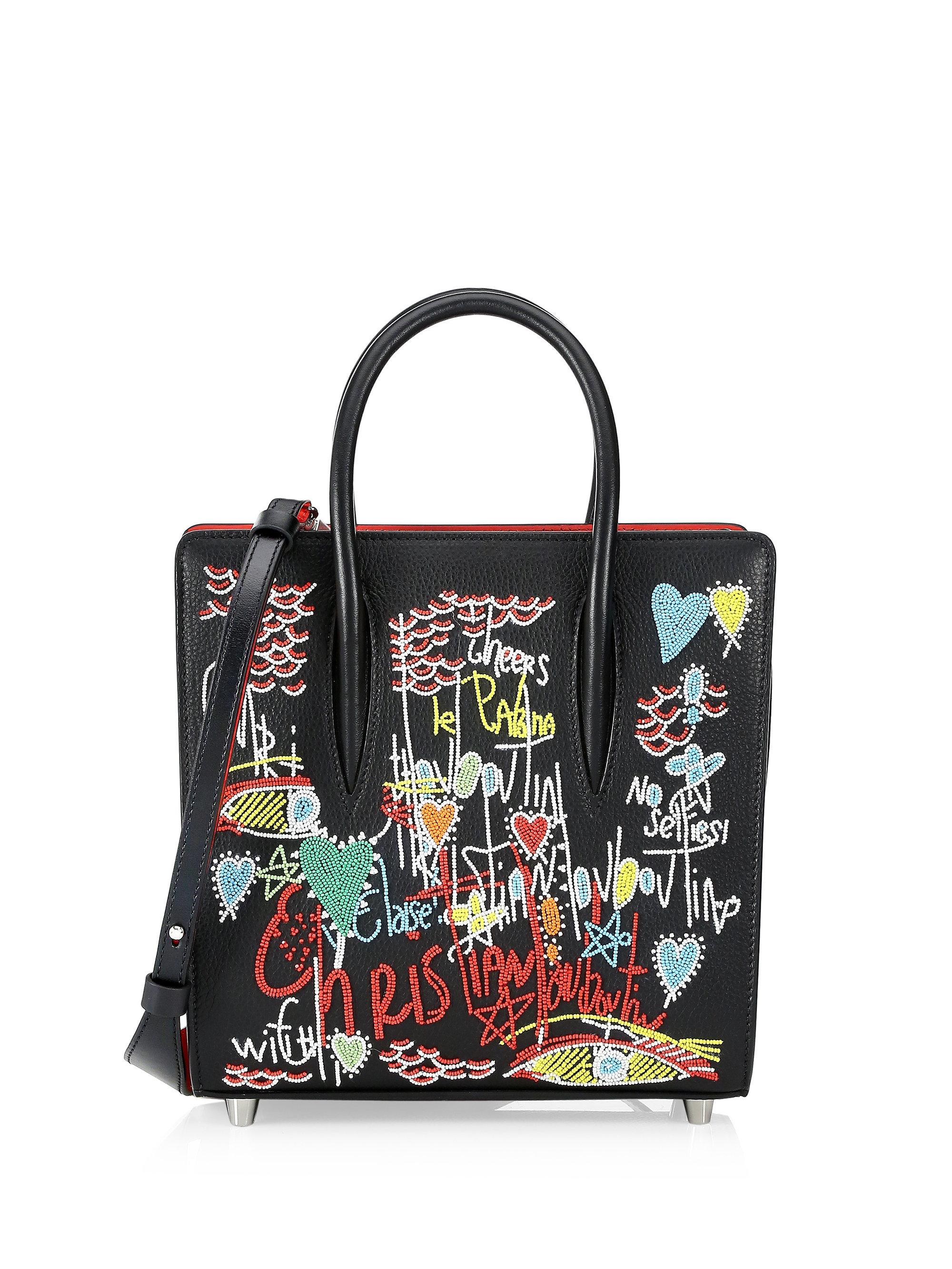 dacd2534ace Christian Louboutin Paloma Small Embellished Tote in Black - Lyst