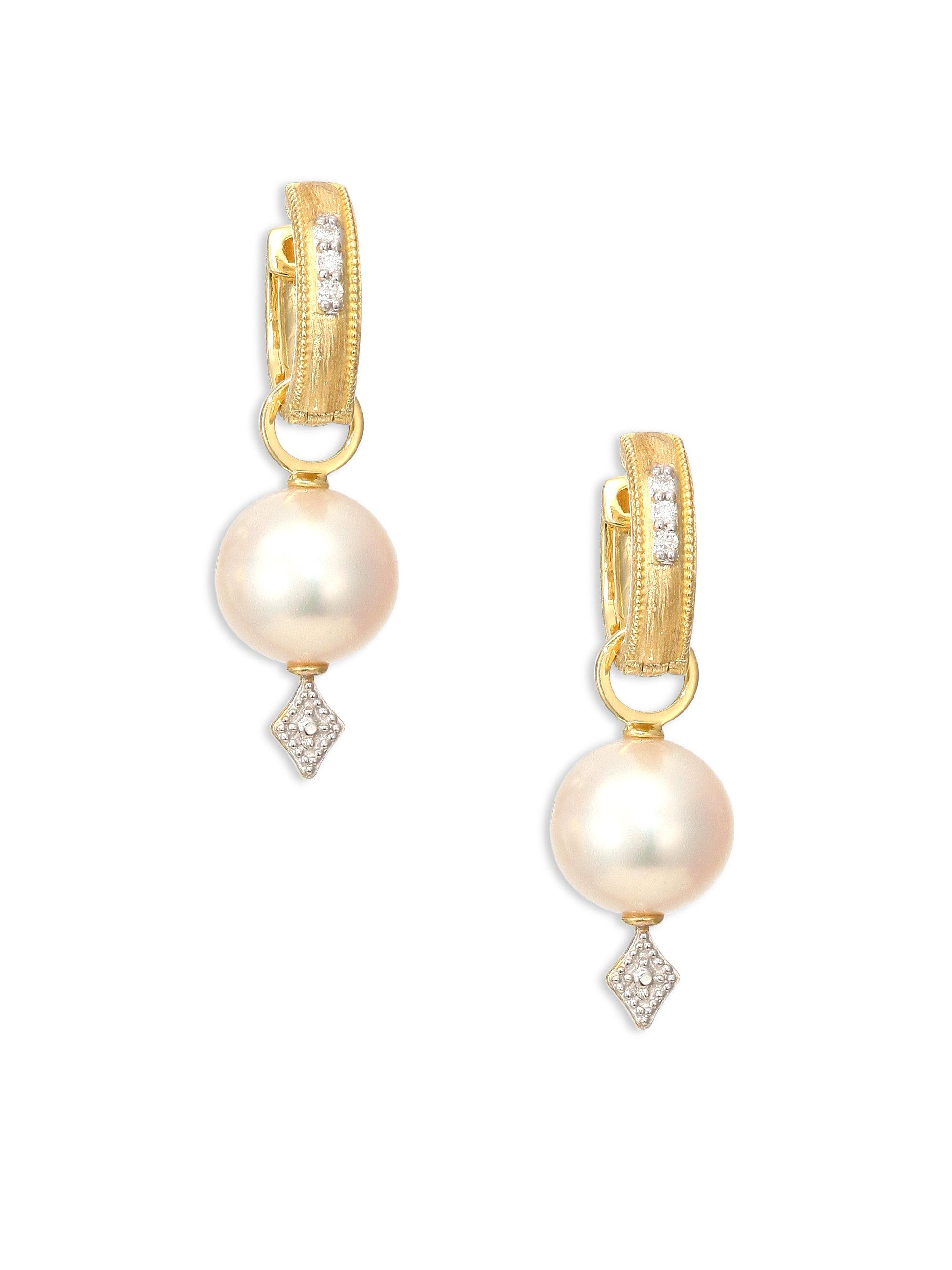 Jude Frances Lisse Large Pearl & Diamond Earring Charms, White Gold