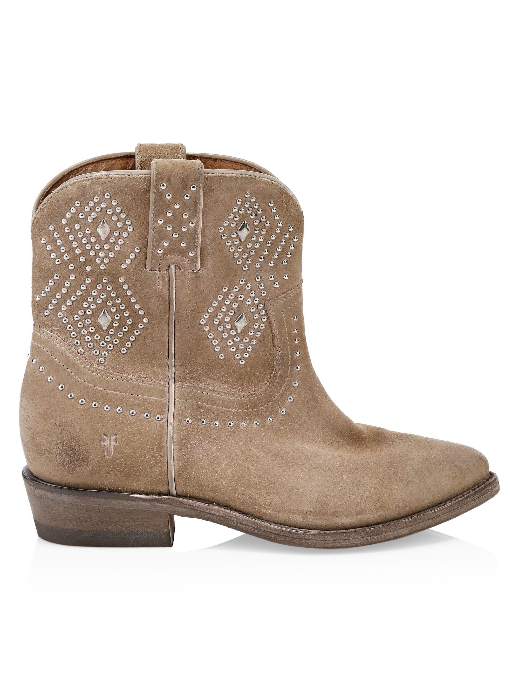 5921f615c1e Lyst - Frye Women's Billy Studded Suede Short Cowboy Boots - Tan ...