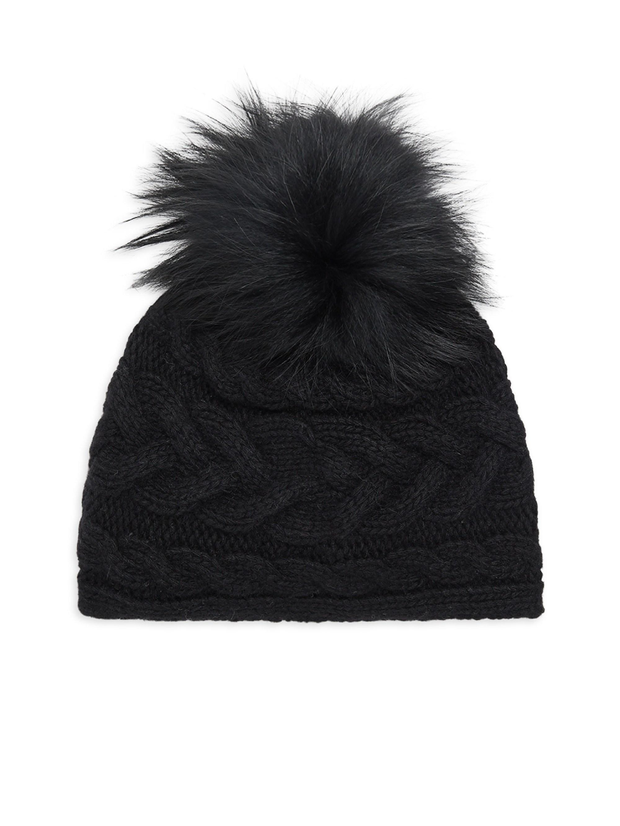 Portolano Cable Knit Fox Fur Pompom Hat in Black - Lyst a30c34d60be7
