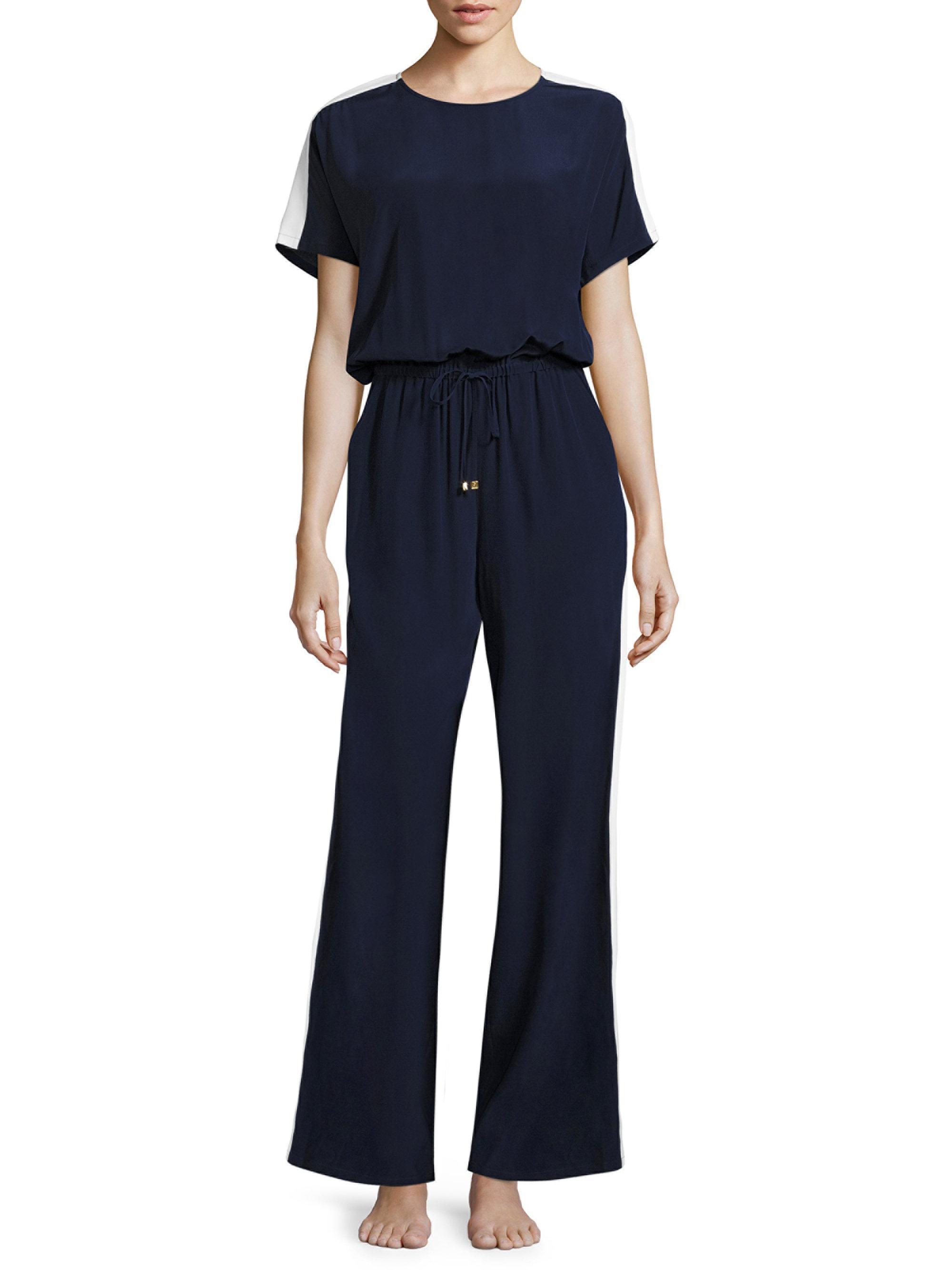 dc2e2b69cec0 Lyst - Tory Burch Colorblock Silk Jumpsuit in Blue