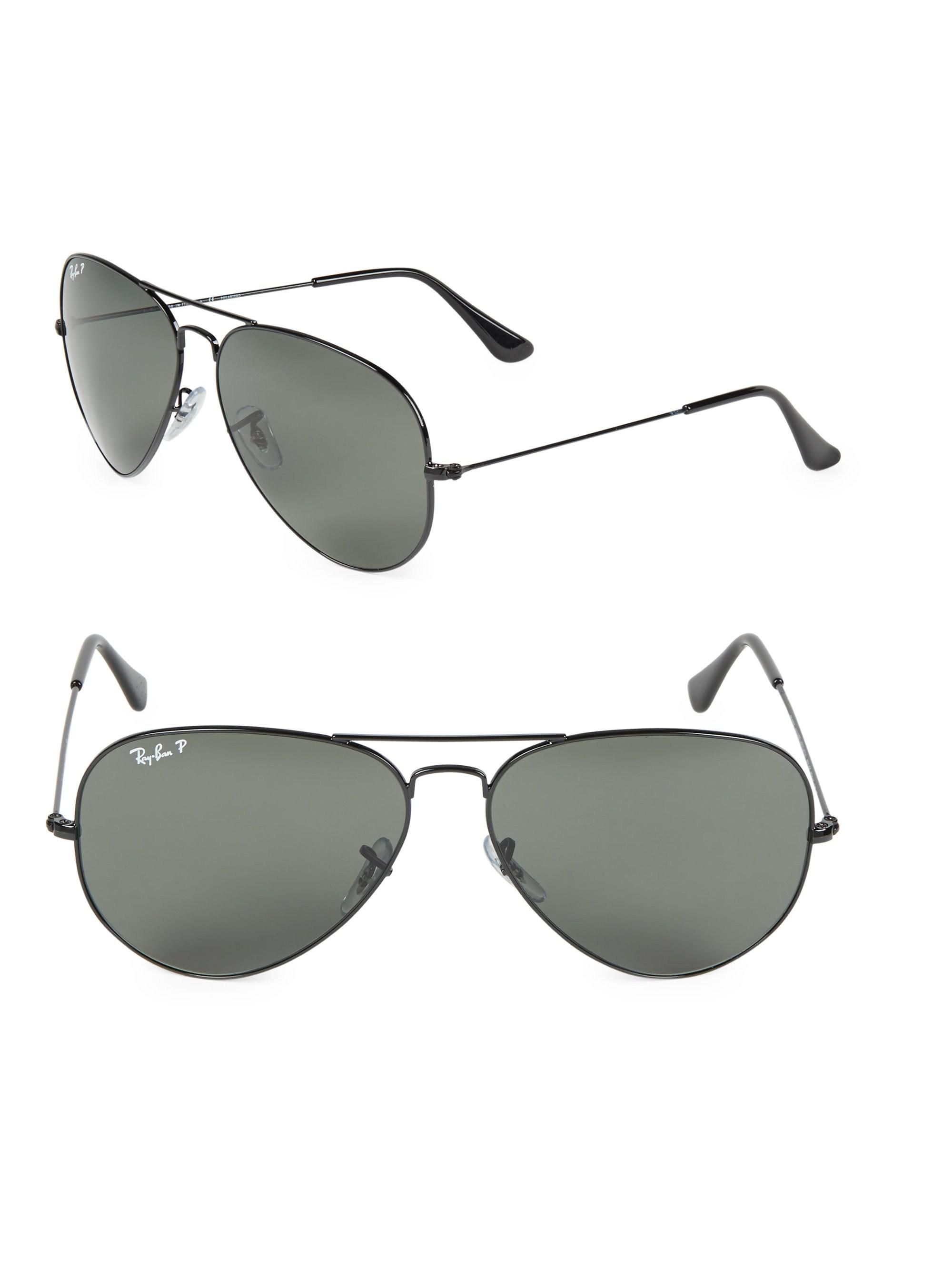 35dfca0753 Ray-Ban Aviator Polarized Sunglasses in Black for Men - Lyst