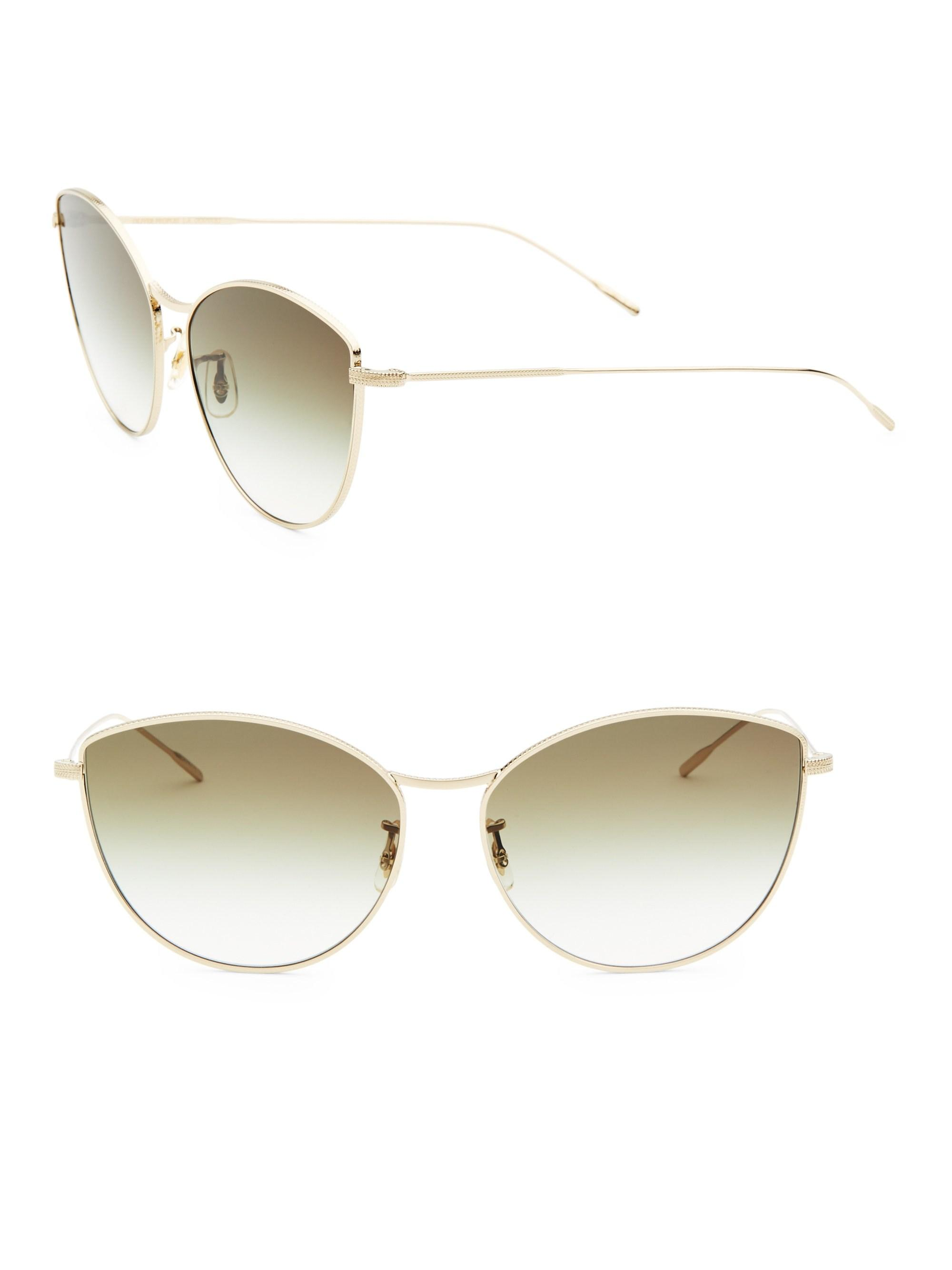 78327c87062ae Oliver Peoples. Metallic Women s Rayette 60mm Cat-eye Sunglasses - Gold
