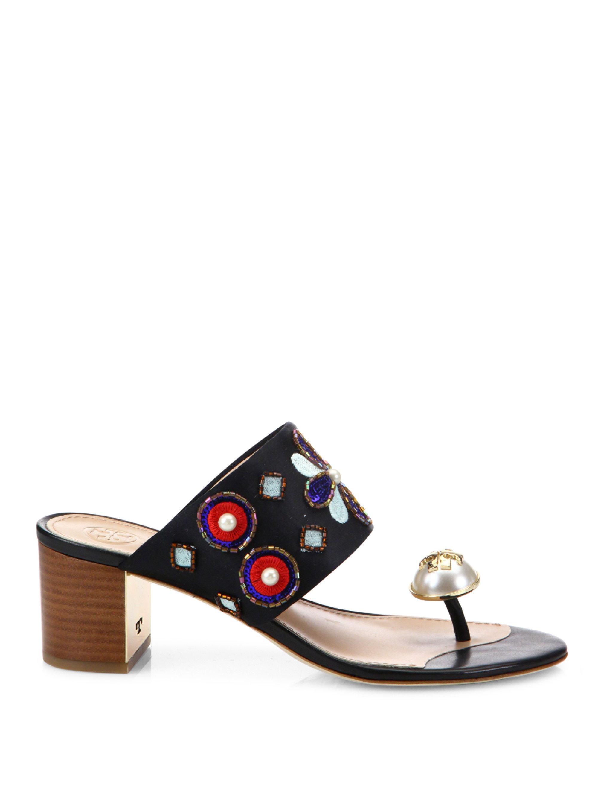 bcc6ea835b5d02 Lyst - Tory Burch Estella Silk Blend Ring Slide Sandals in Black