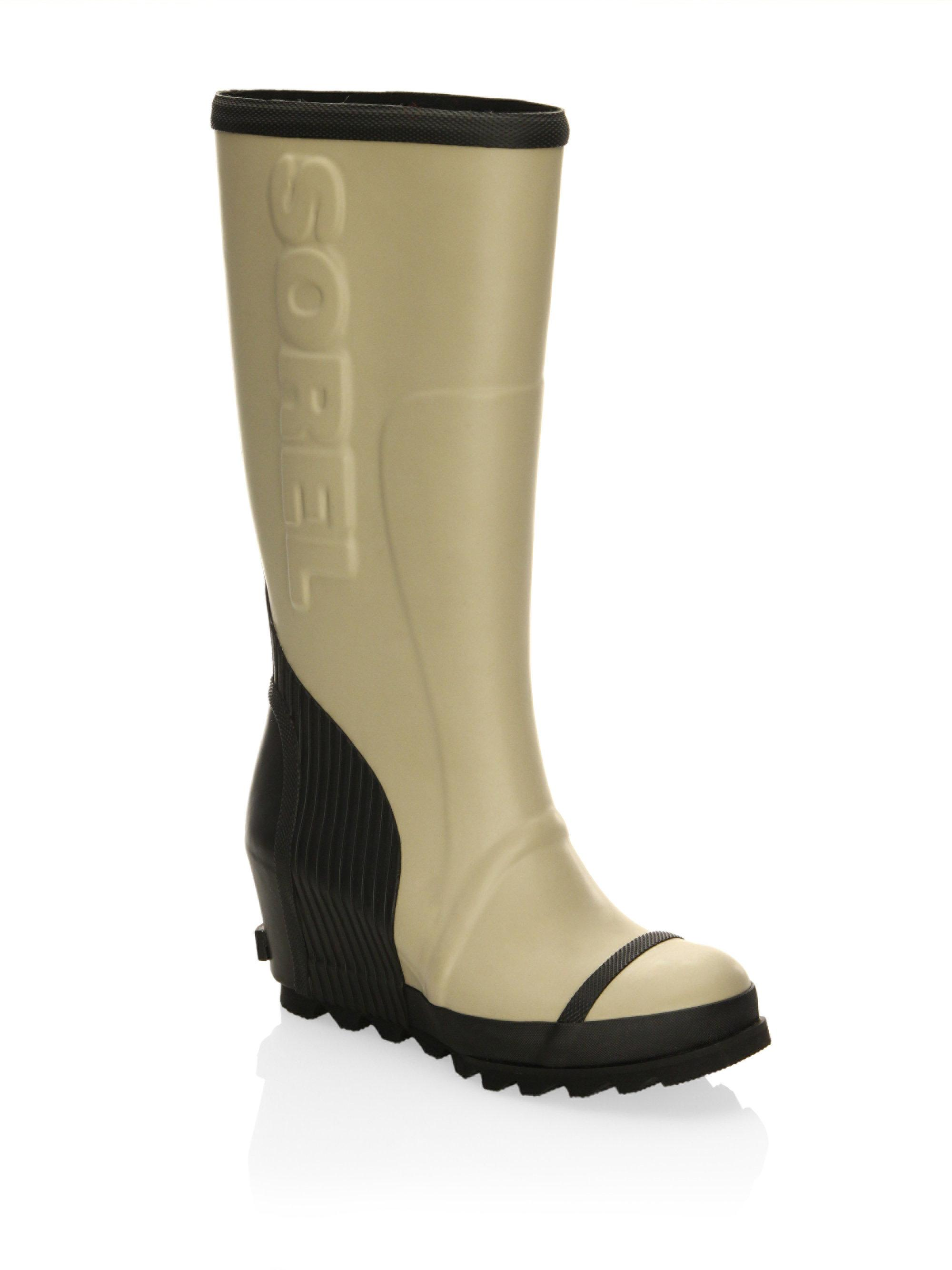 Lyst Sorel Joan Wedge Rubber Rain Boots