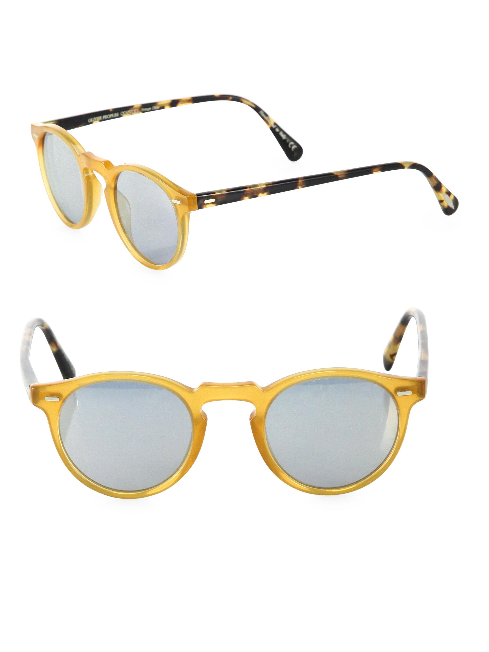 af36942dbbc Oliver Peoples Gregory Peck 47mm Round Sunglasses in Yellow - Lyst