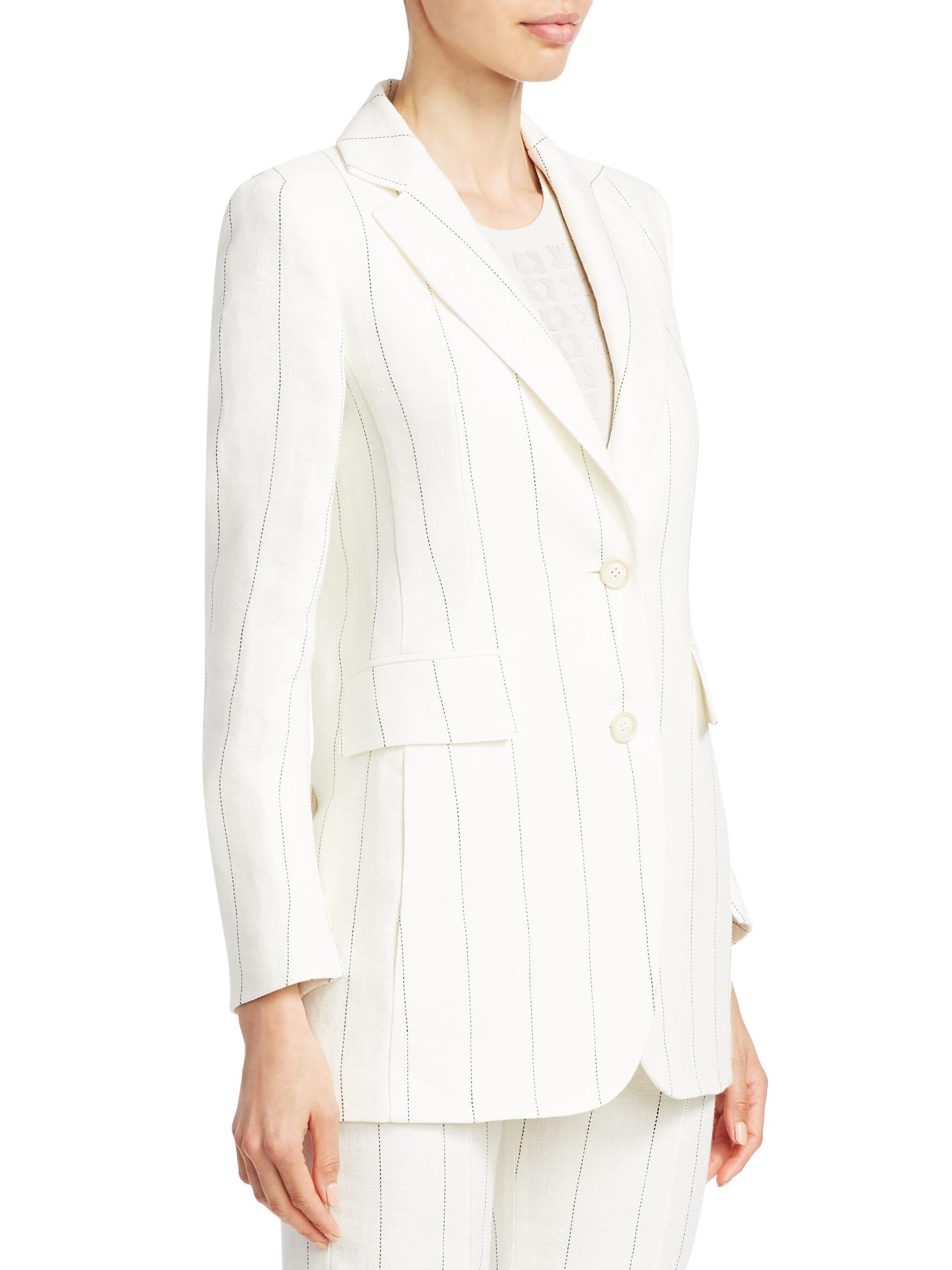 772c1b7e75 Lyst - Akris Women s Abiqui Linen Pinstripe Jacket - Paper in White