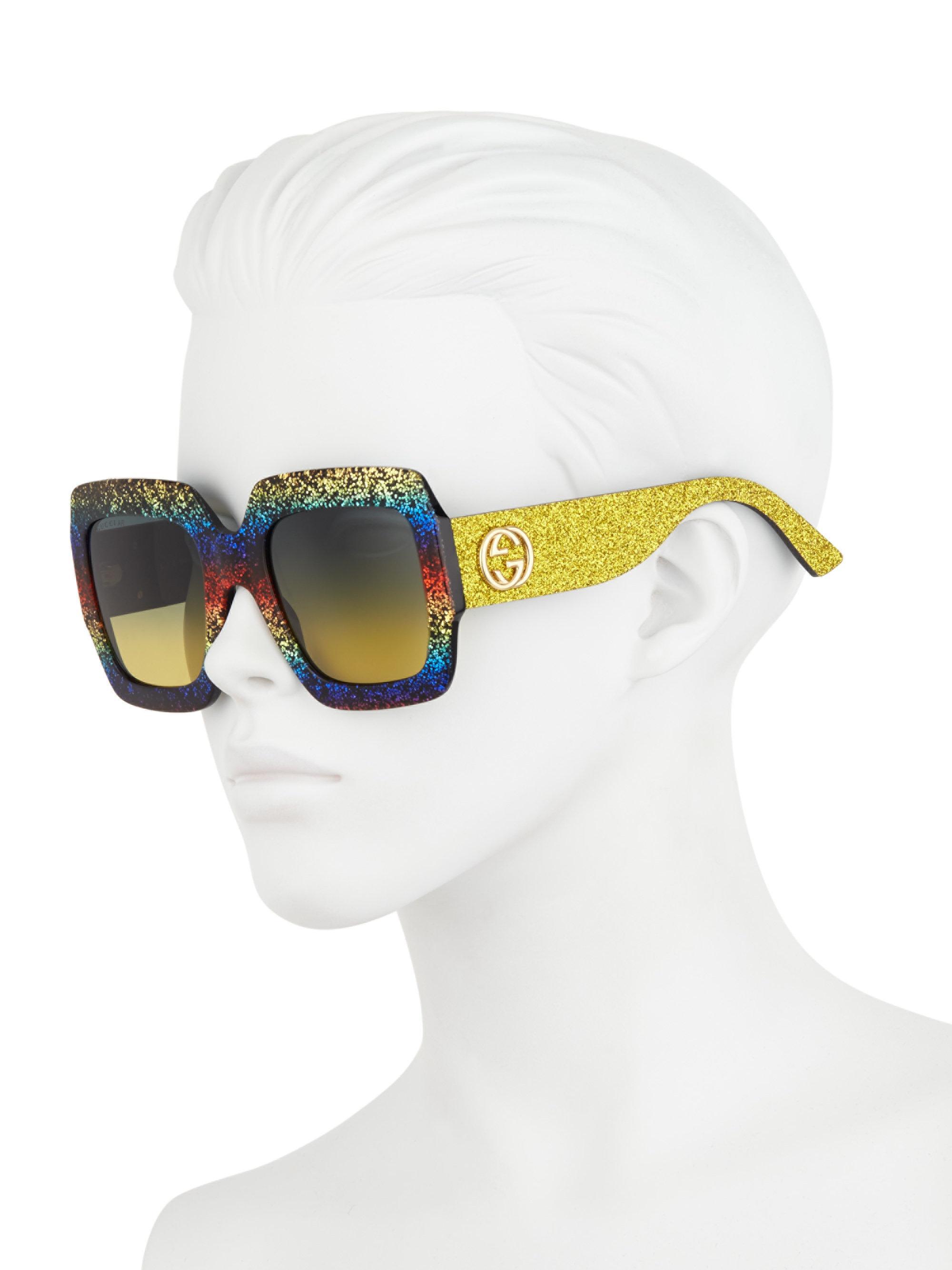 d18ad2c50fe1 Gucci 54mm Glitter Stripe Square Sunglasses - Lyst