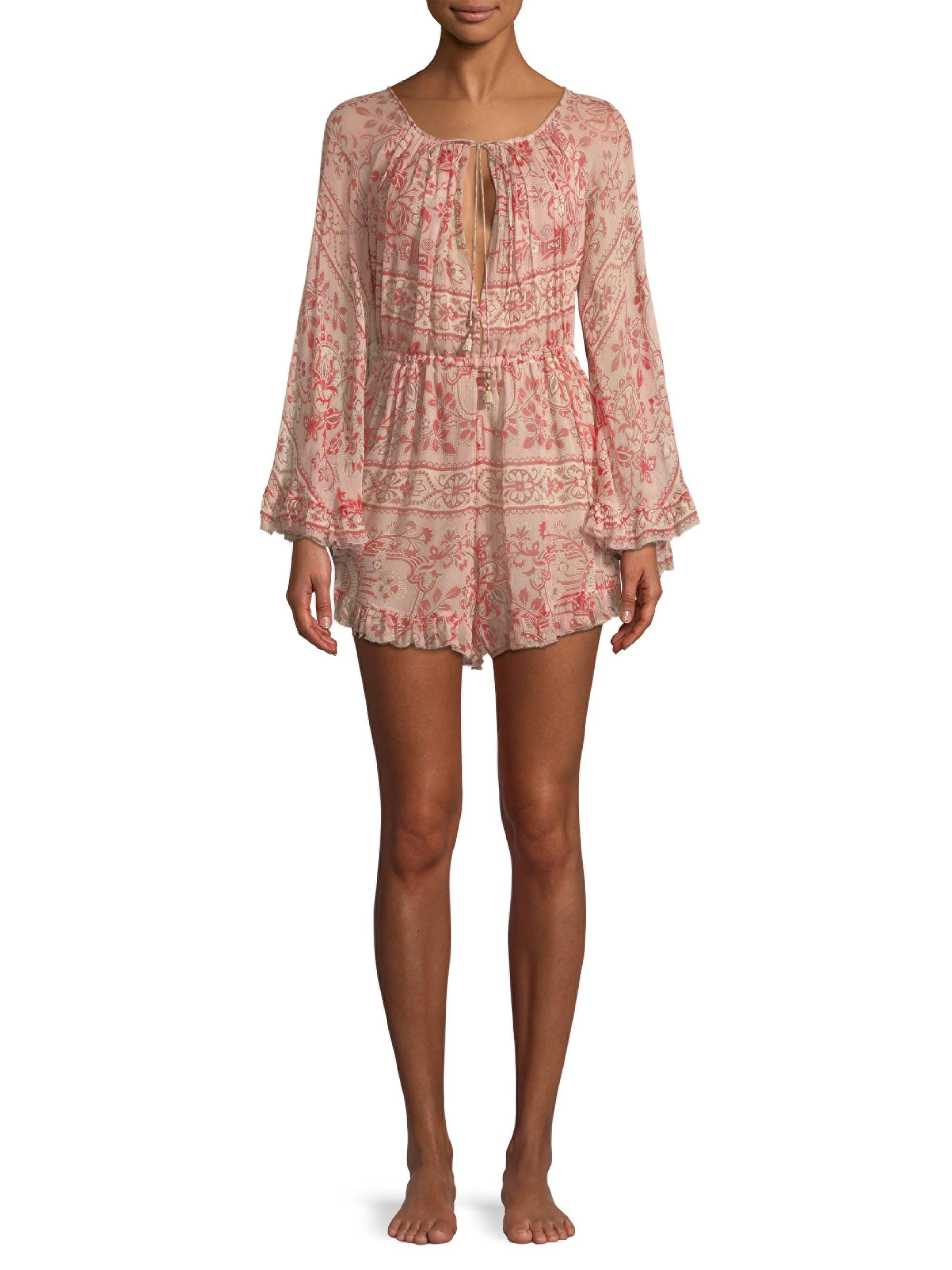 8401502e87 Lyst - Zimmermann Castile Flared Playsuit in Pink