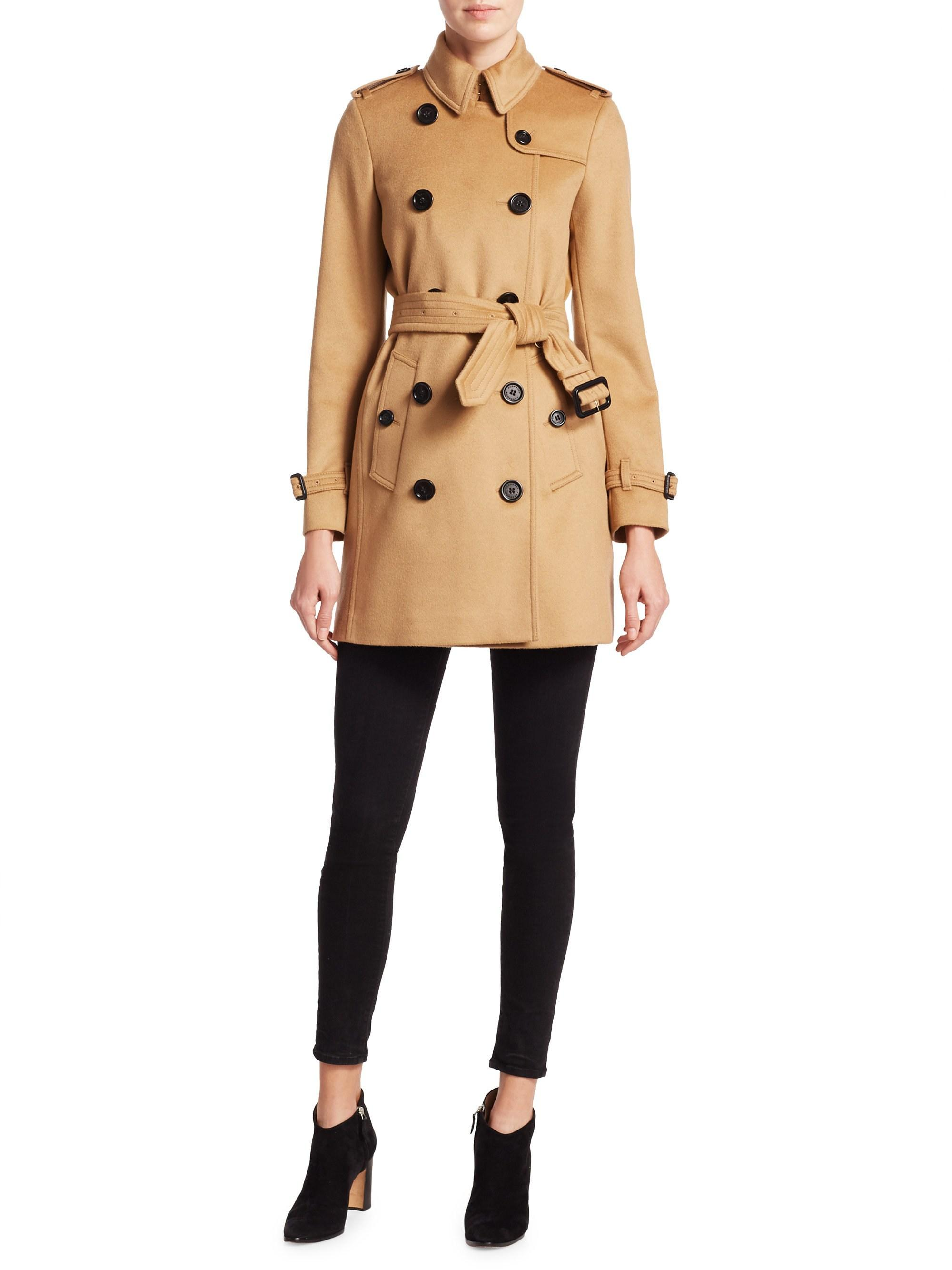 bc323a4e1a32e Lyst - Burberry Wool And Cashmere Trench Coat in Natural