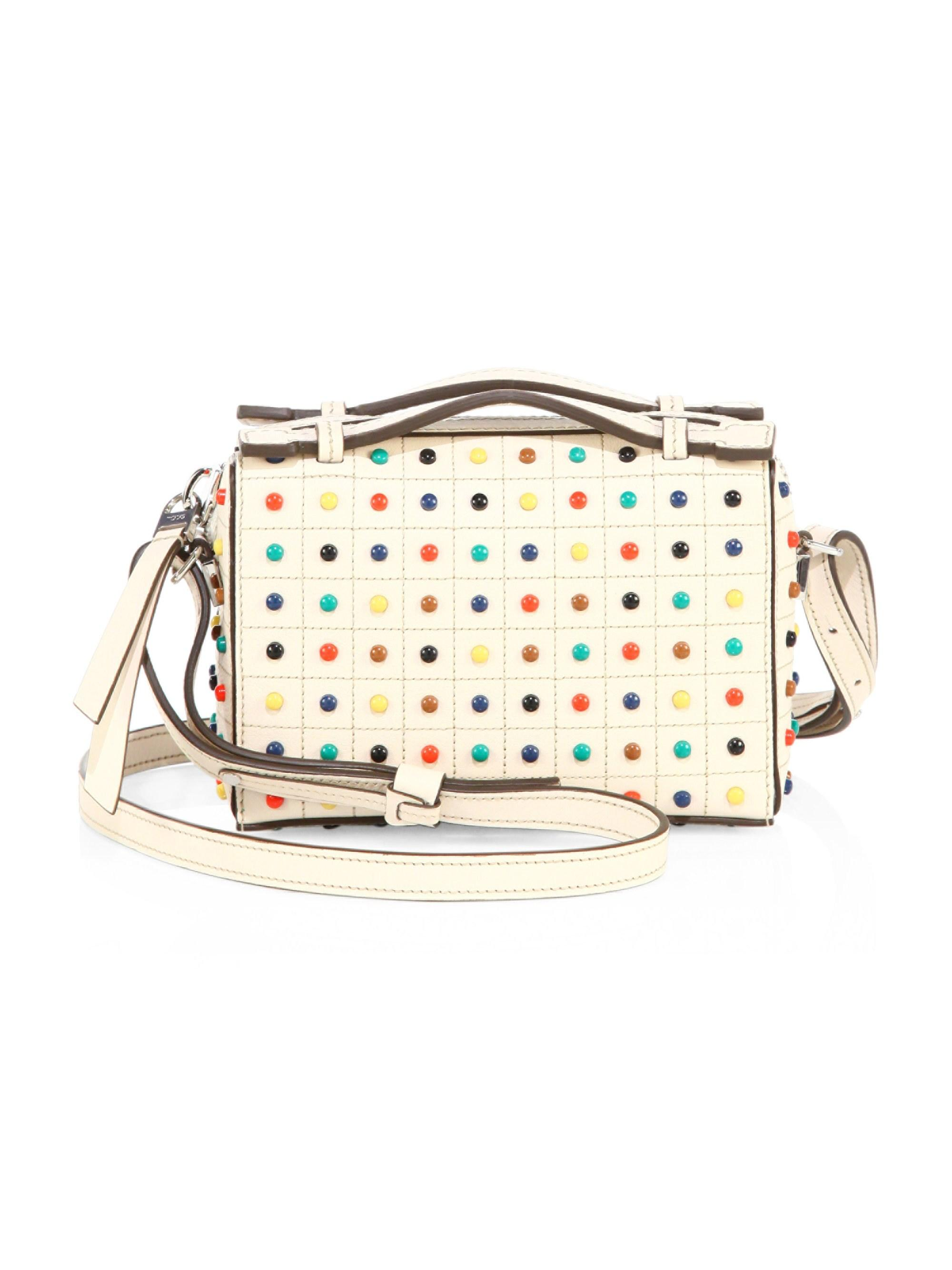 cee3ed905c4d Lyst - Tod s Women s Micro Gommino Studded Leather Box Bag - Cream Multi