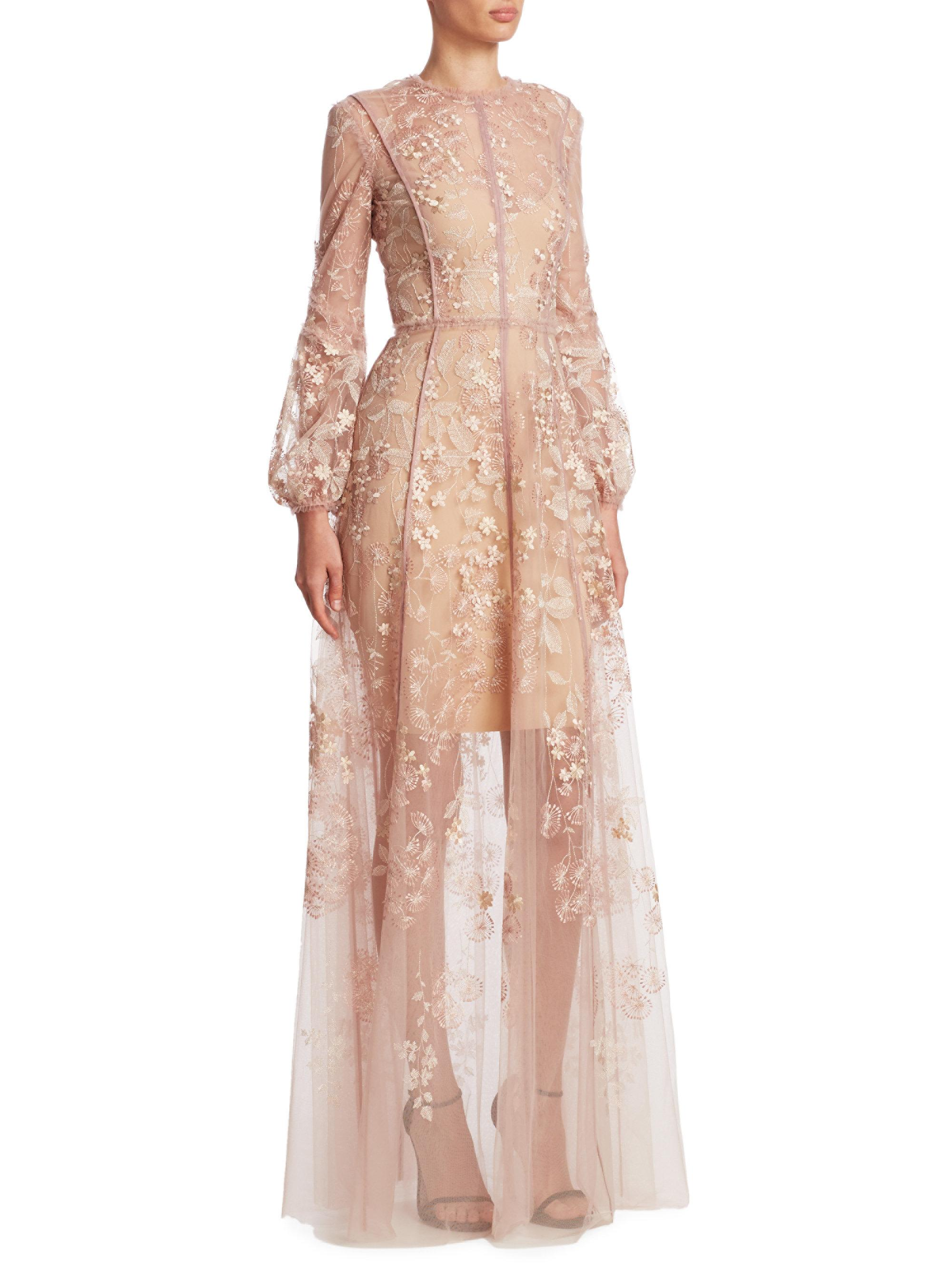 c05198ad8c J. Mendel Floral Embroidered Gown in Pink - Lyst