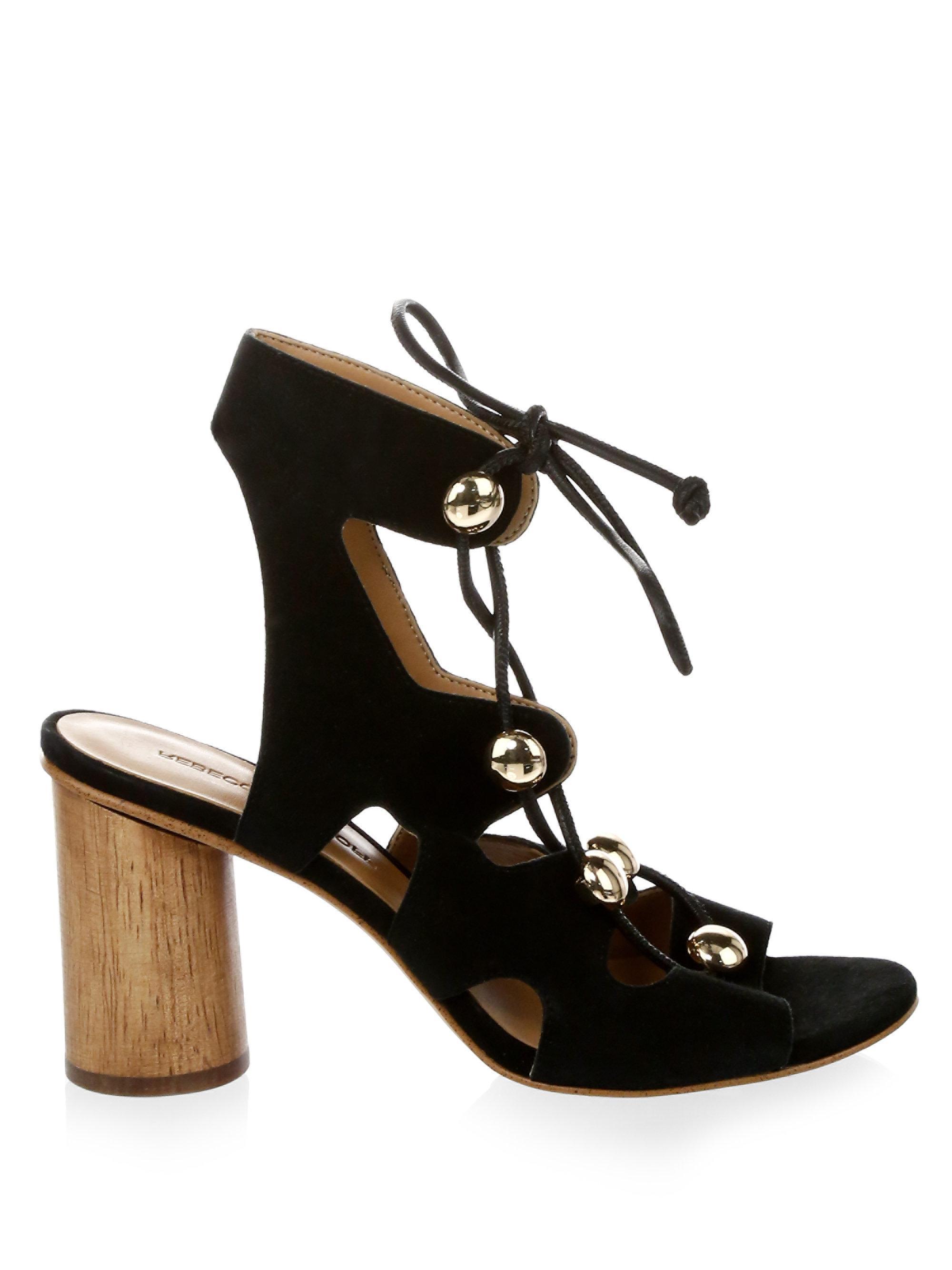 Rebecca Minkoff Embellished Suede Lace-Up Sandals rWkjVdf