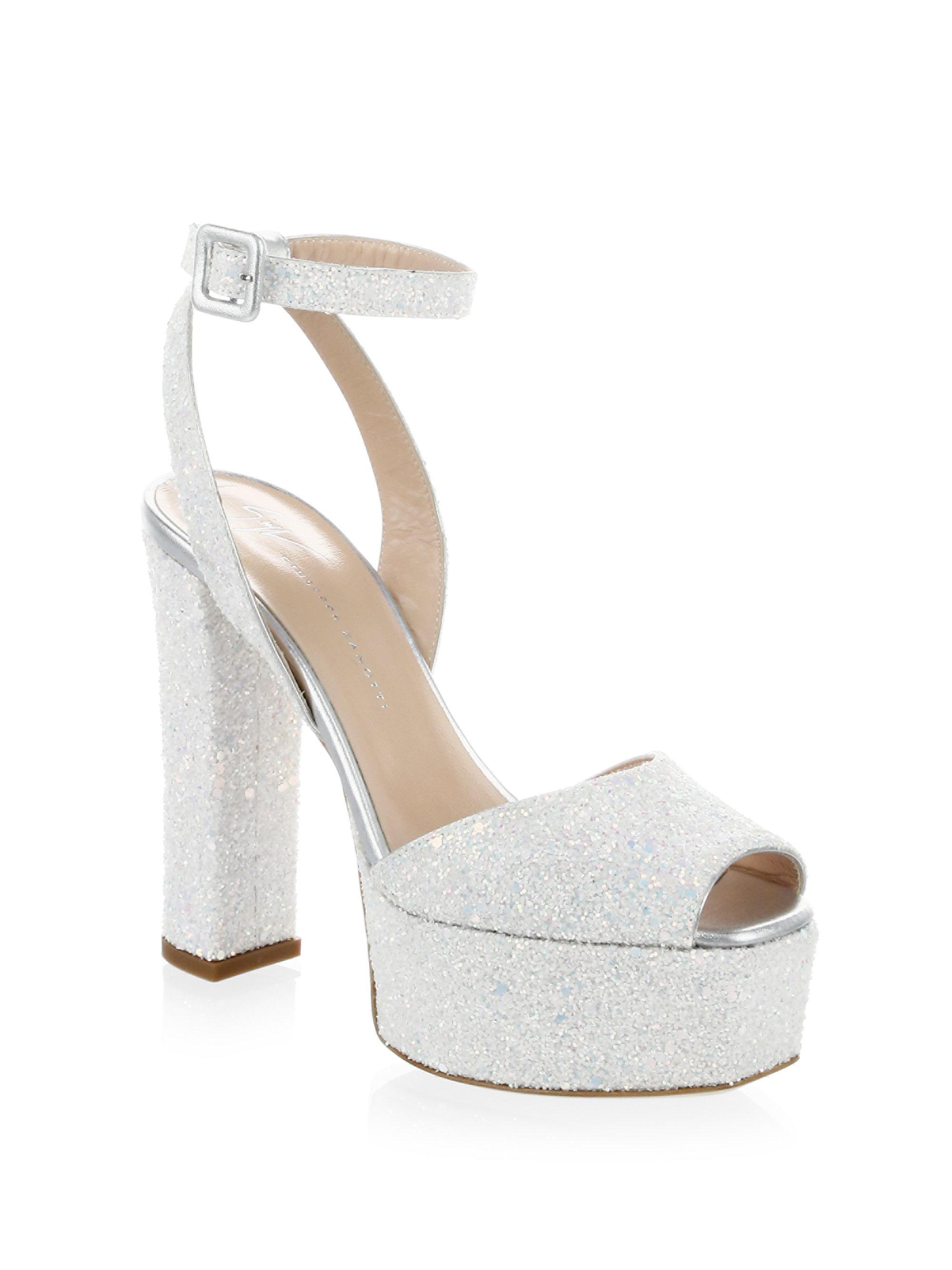 Giuseppe Zanotti Lavinia Glitter Leather Platform Sandals s9wQa