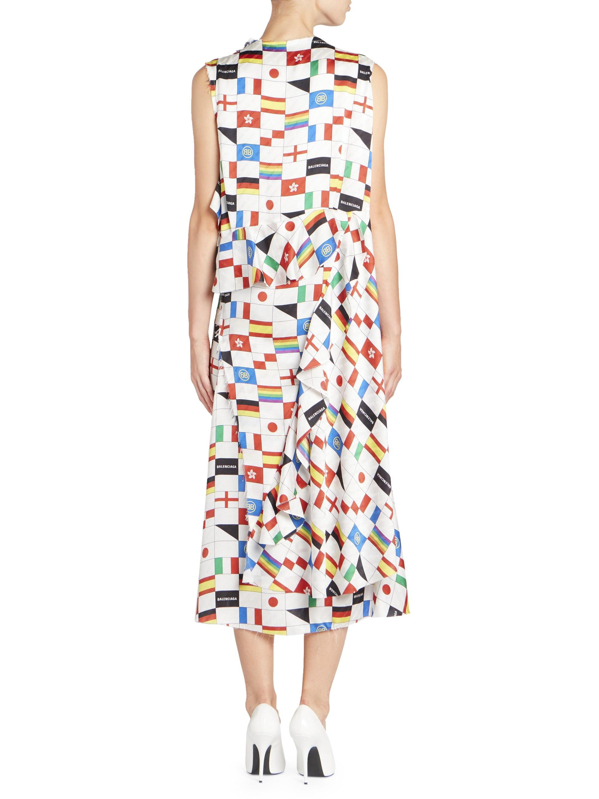 5fae5ef05fc6e Lyst - Balenciaga Women s Multi-flag Print Sleeveless Silk Dress