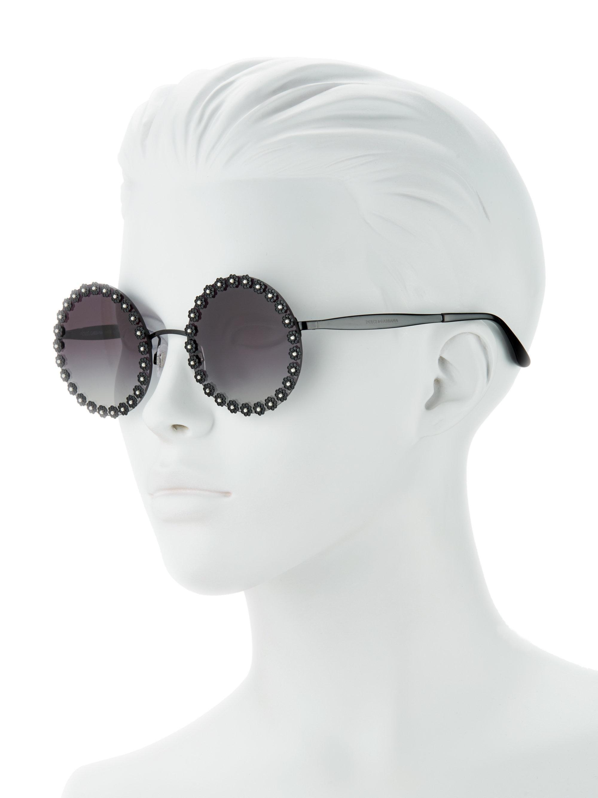 b271d9d0734 56mm Flower Lyst Dolce Trimmed Sunglasses In Round Black amp  Gabbana  ZTTXvRx