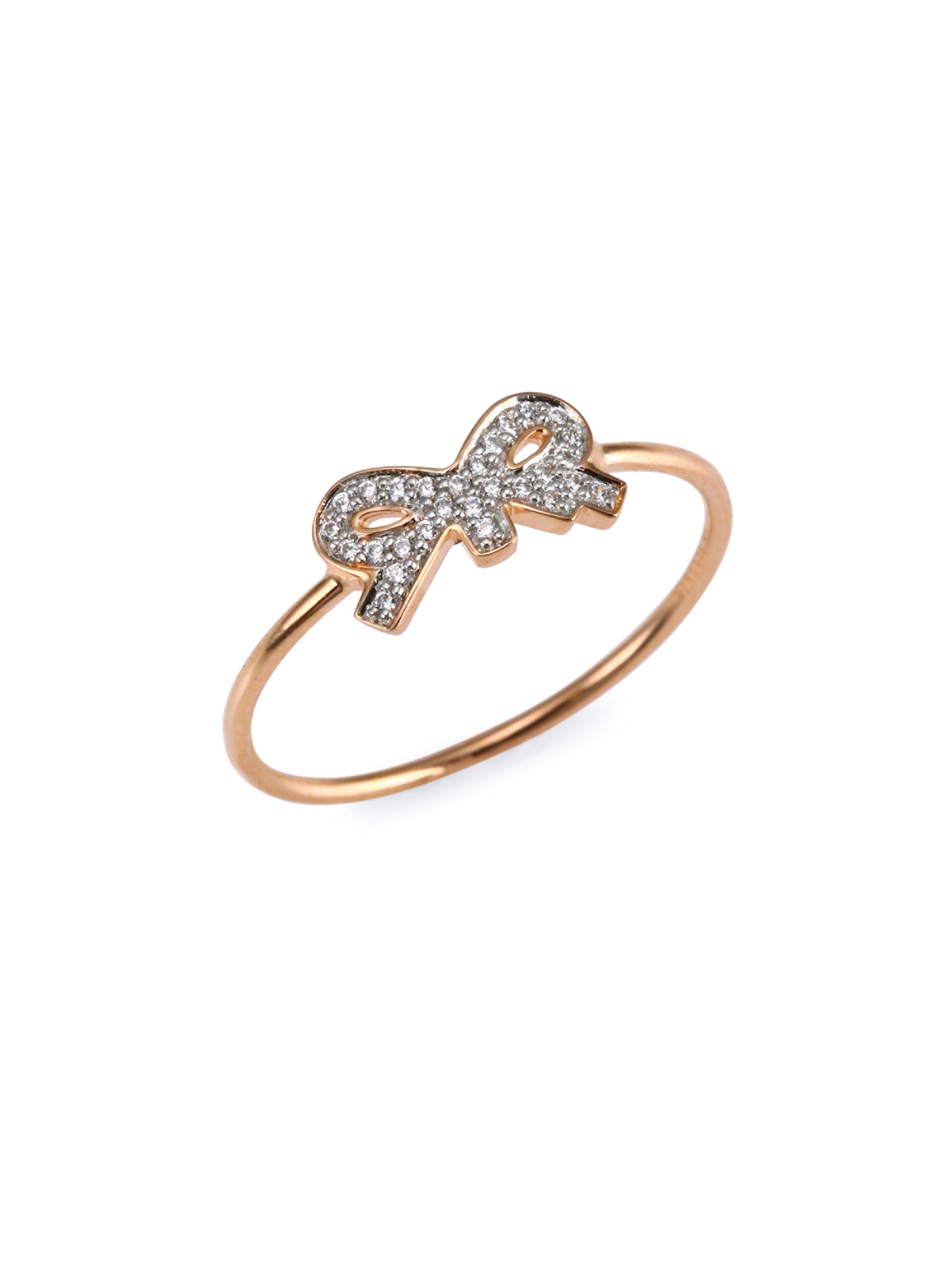 Ginette NY Tiny Diamond Heart Ring in 18K Rose Gold and Diamonds 6fZc8fMMf