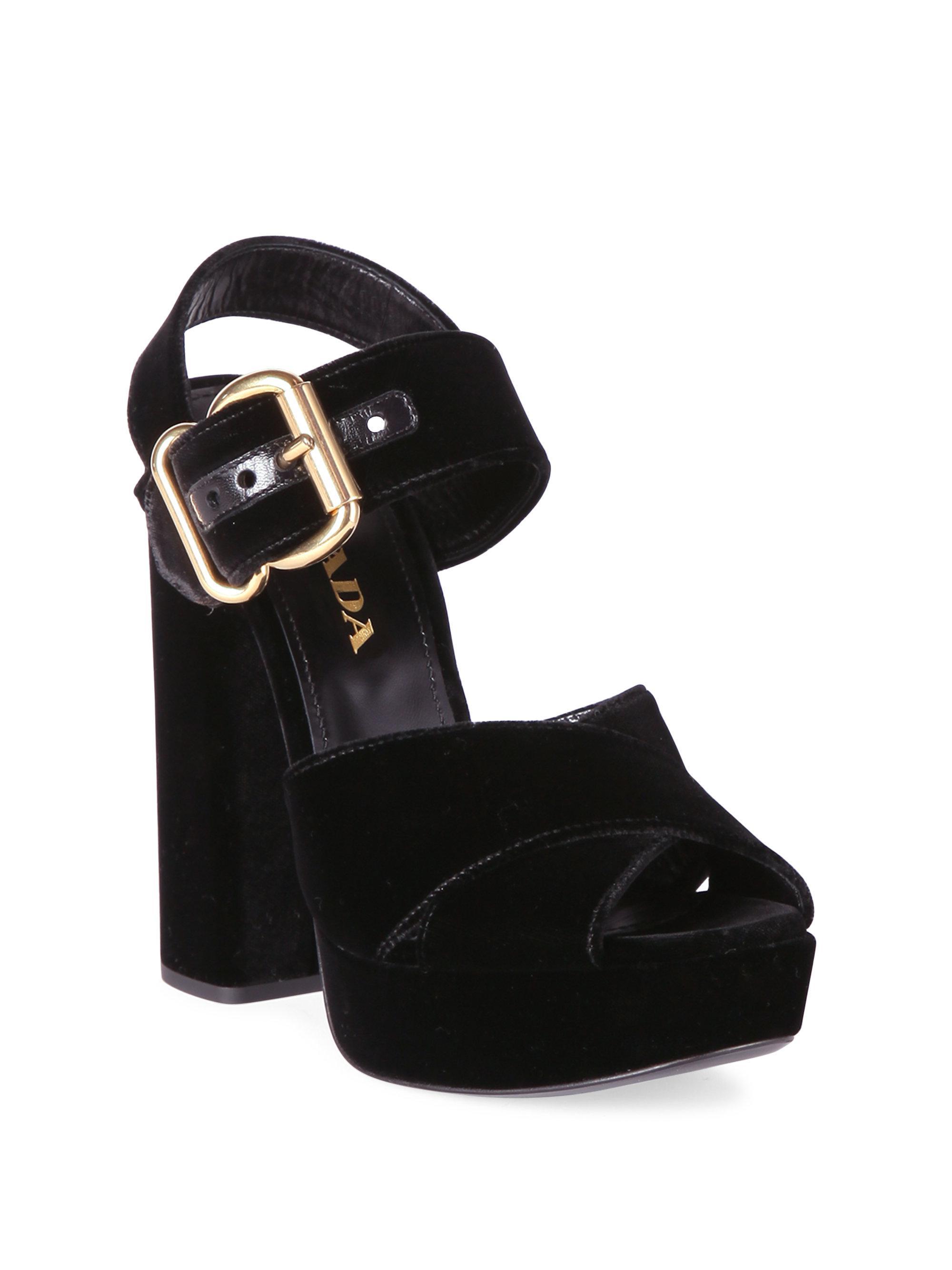 627554c63bd7 Prada Velvet Platform Slingback Sandals in Black - Lyst