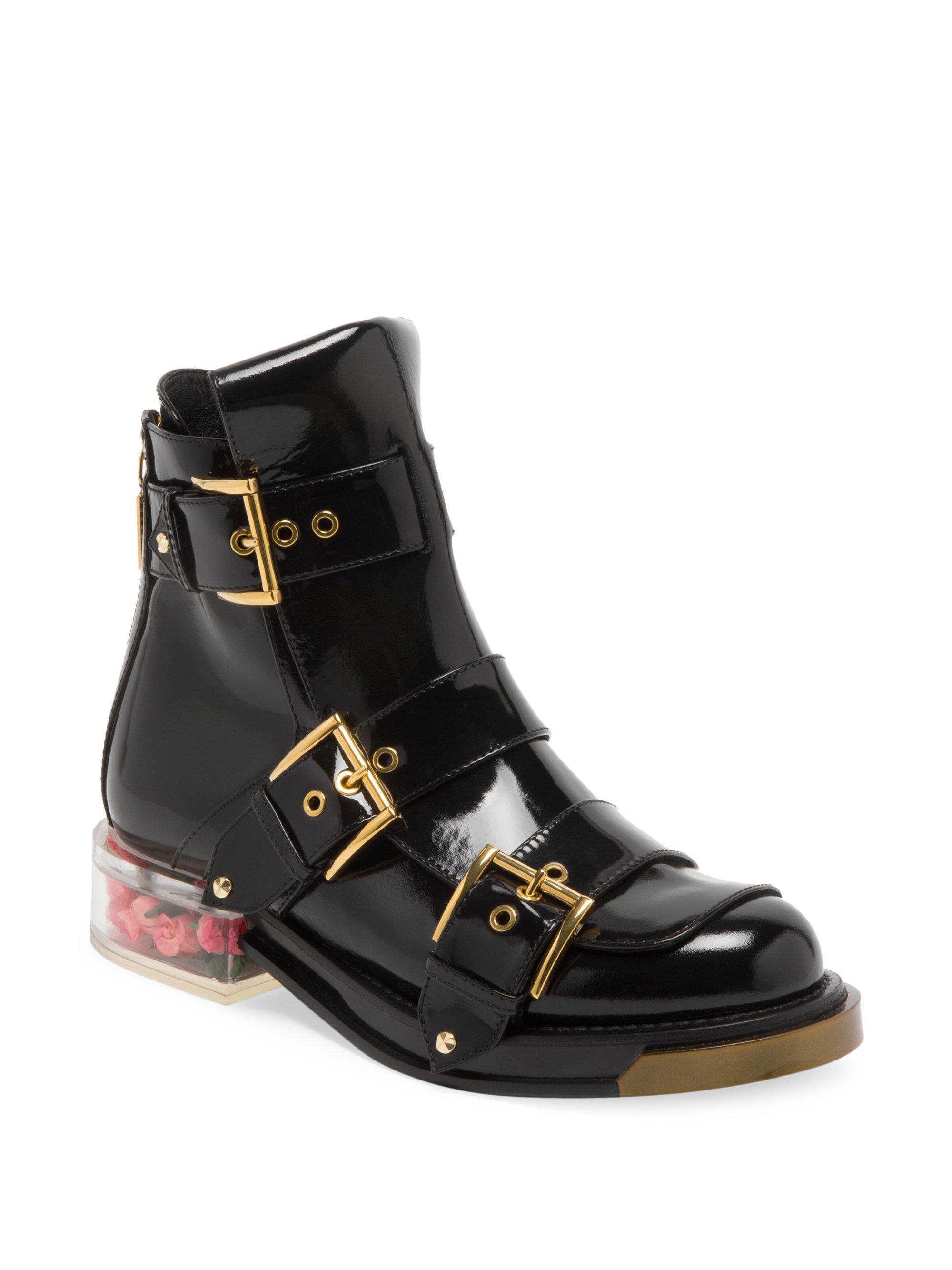 Alexander McQueen Rose Bud Heel Patent Leather Boots Black Block heel jbd 95704