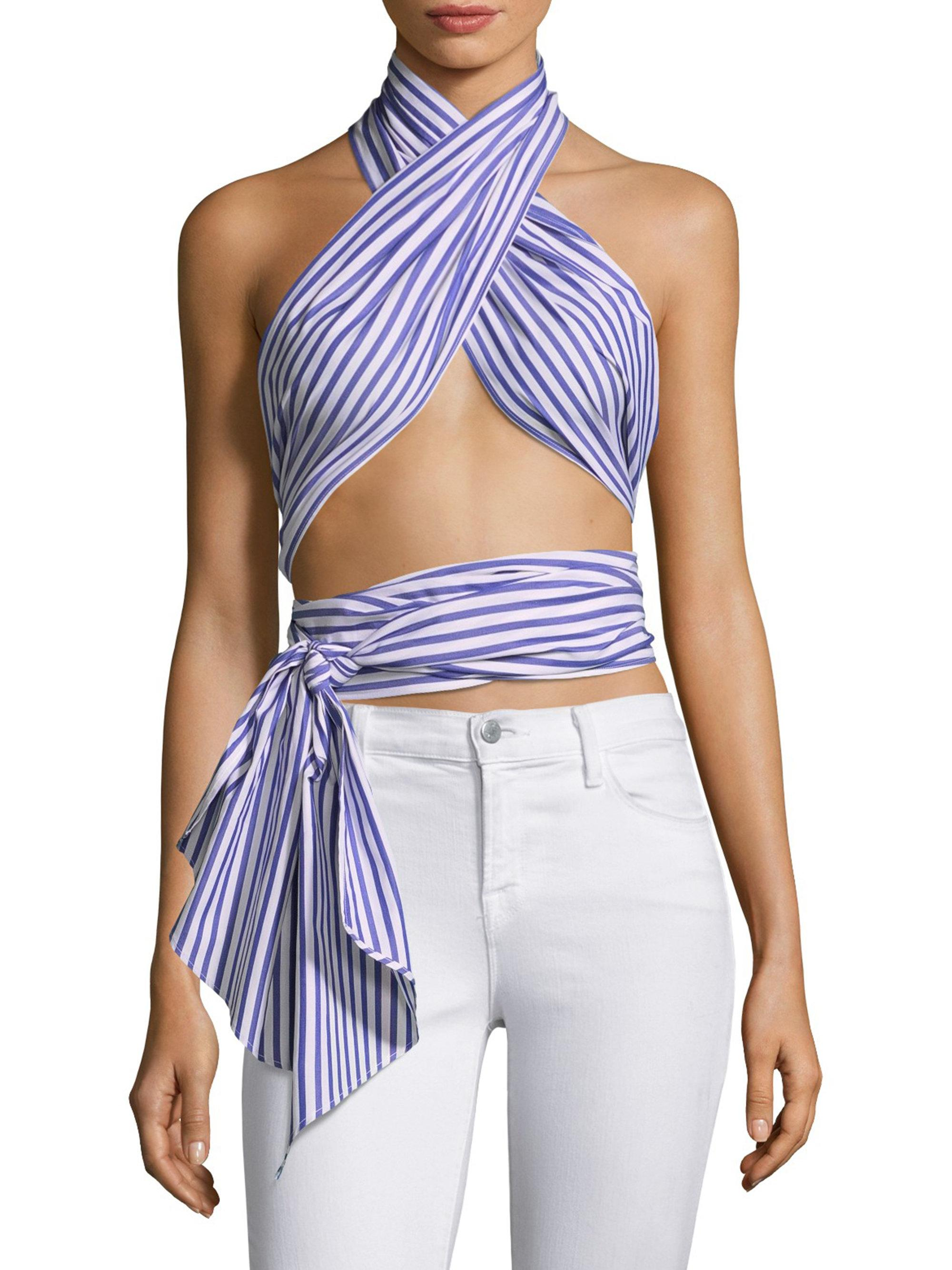0e4ed821f5b8 Lyst - MDS Stripes Everything Scarf Strap Top in Blue