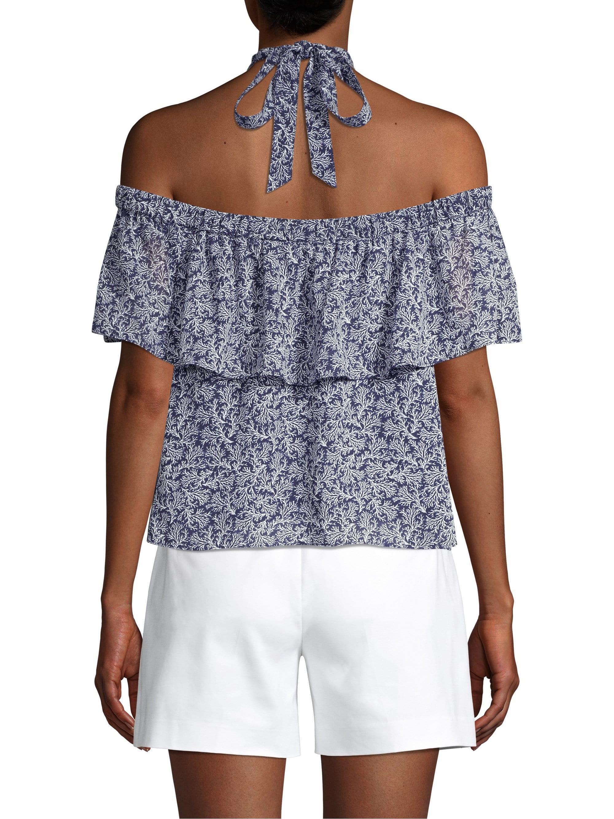 6537266fd82 MICHAEL Michael Kors - Blue Women's Printed Off-the-shoulder Halter-neck Top.  View fullscreen