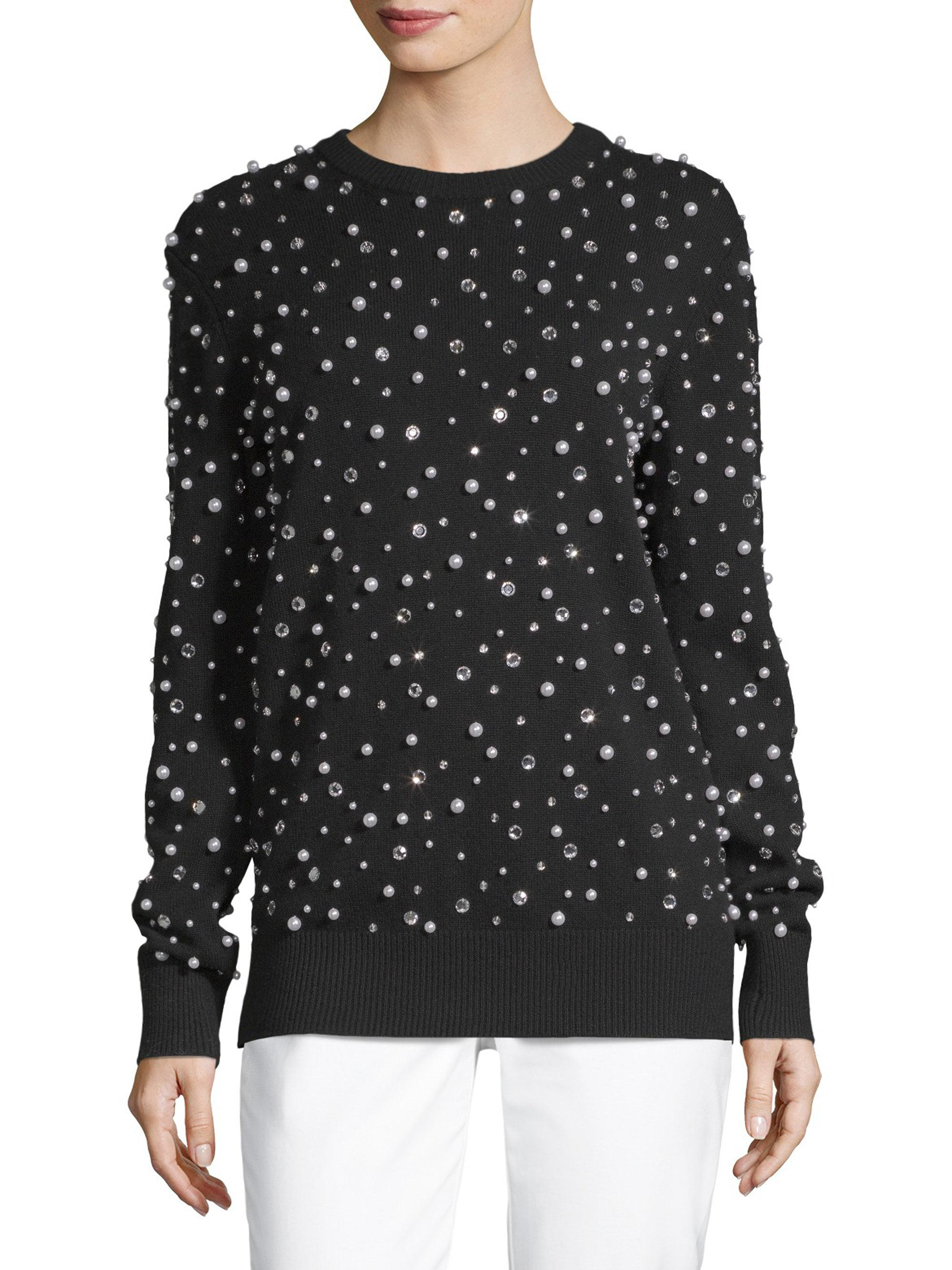 c942402ed37a Michael Kors Embroidered Cashmere Sweater in Black - Lyst