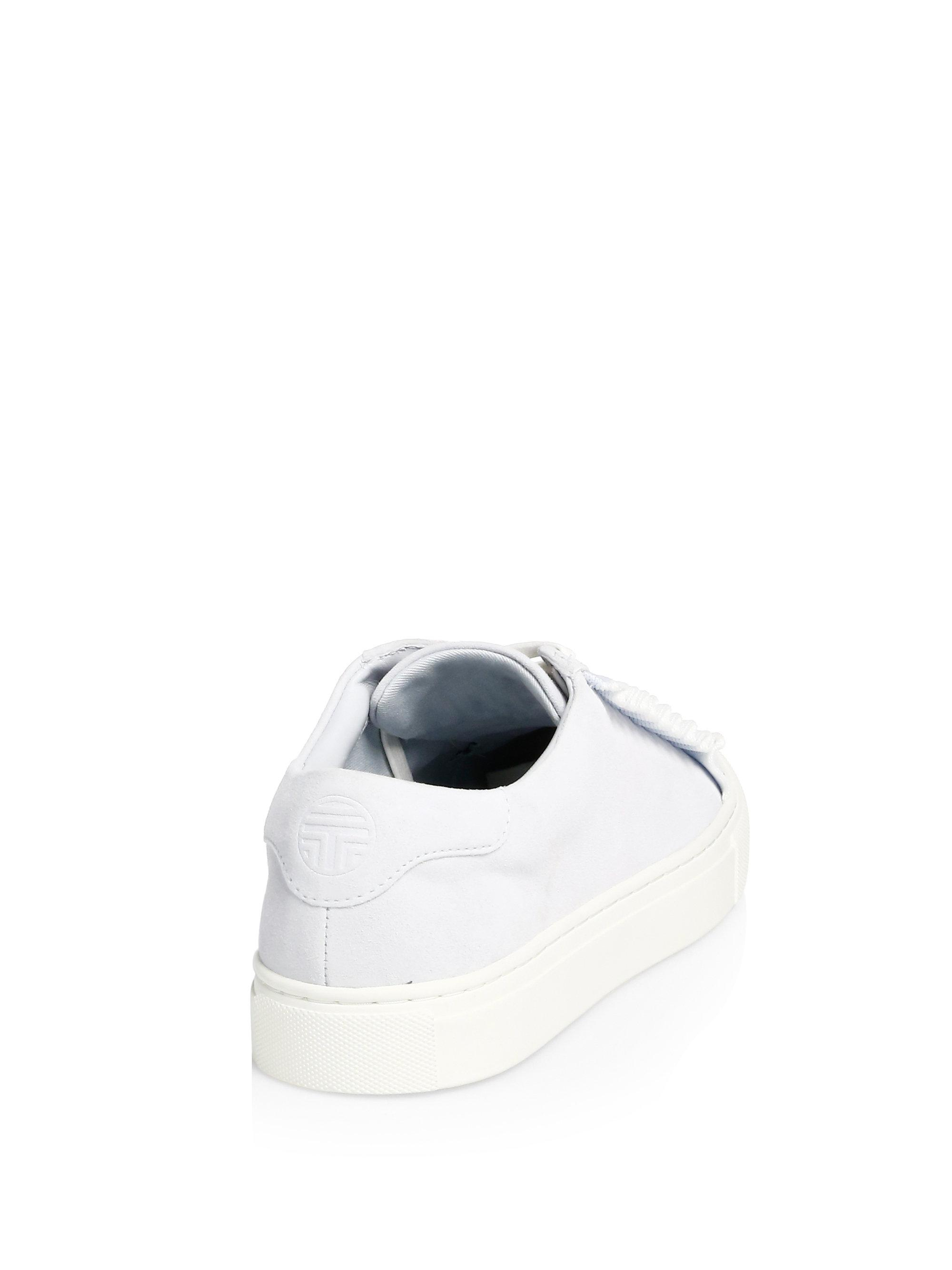 a630b8bec Lyst - Tory Burch Suede Ruffle Low-top Sneakers in Blue