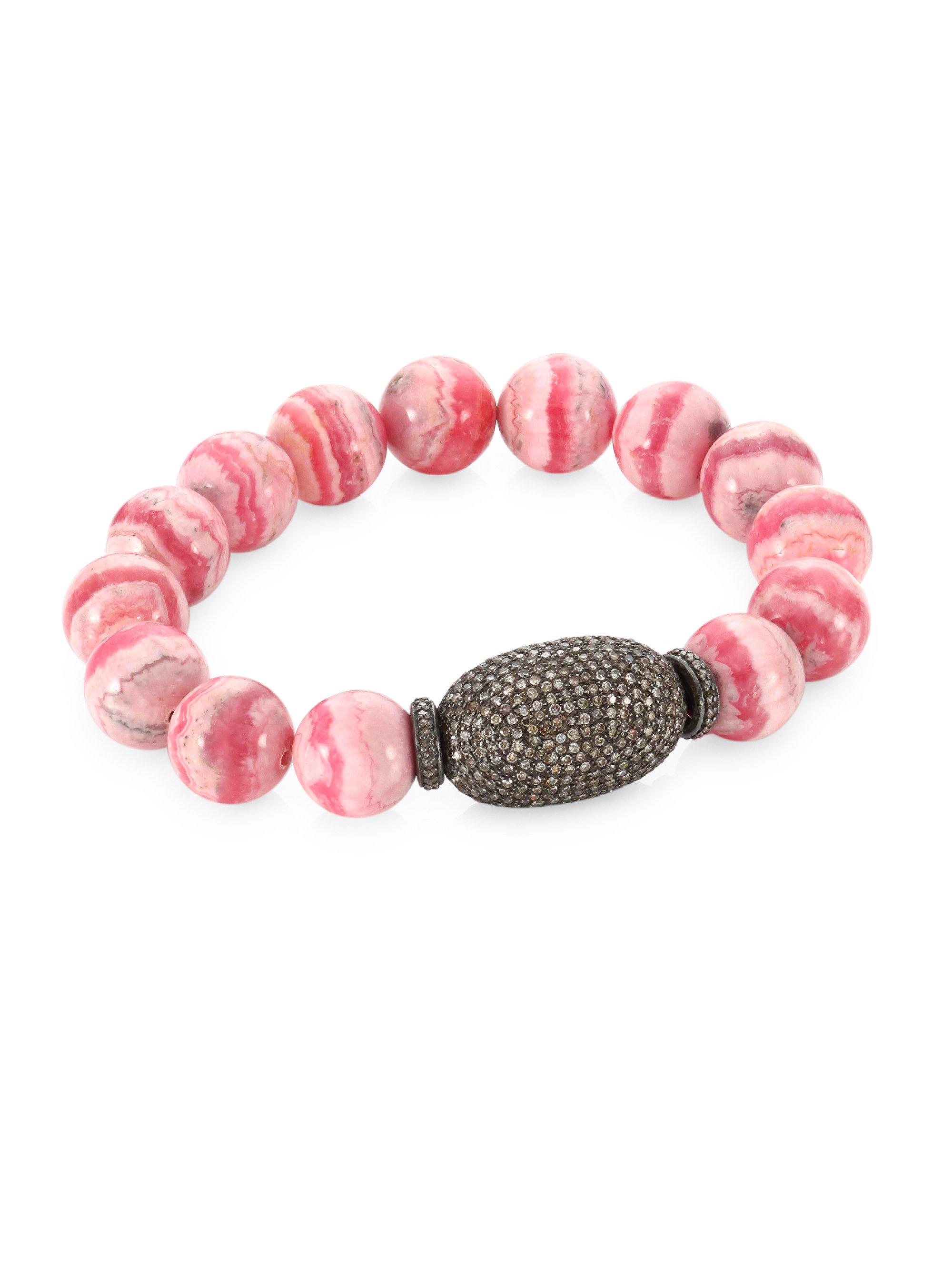 Lyst Bavna Pave Diamond Pink Agate Bead Bracelet In Pink