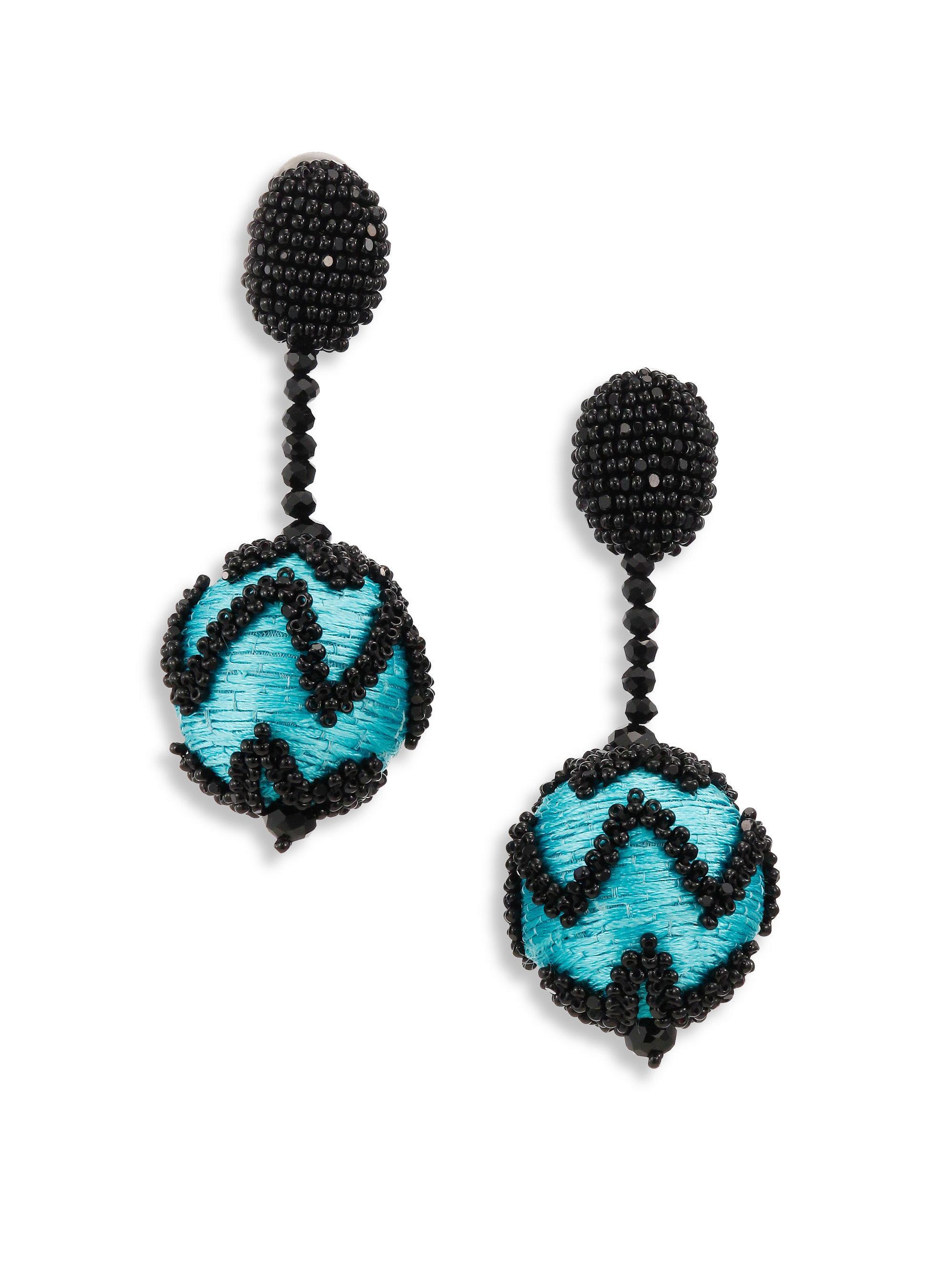 Oscar De La Renta Pompom Flower Beaded Earrings 84YkQ