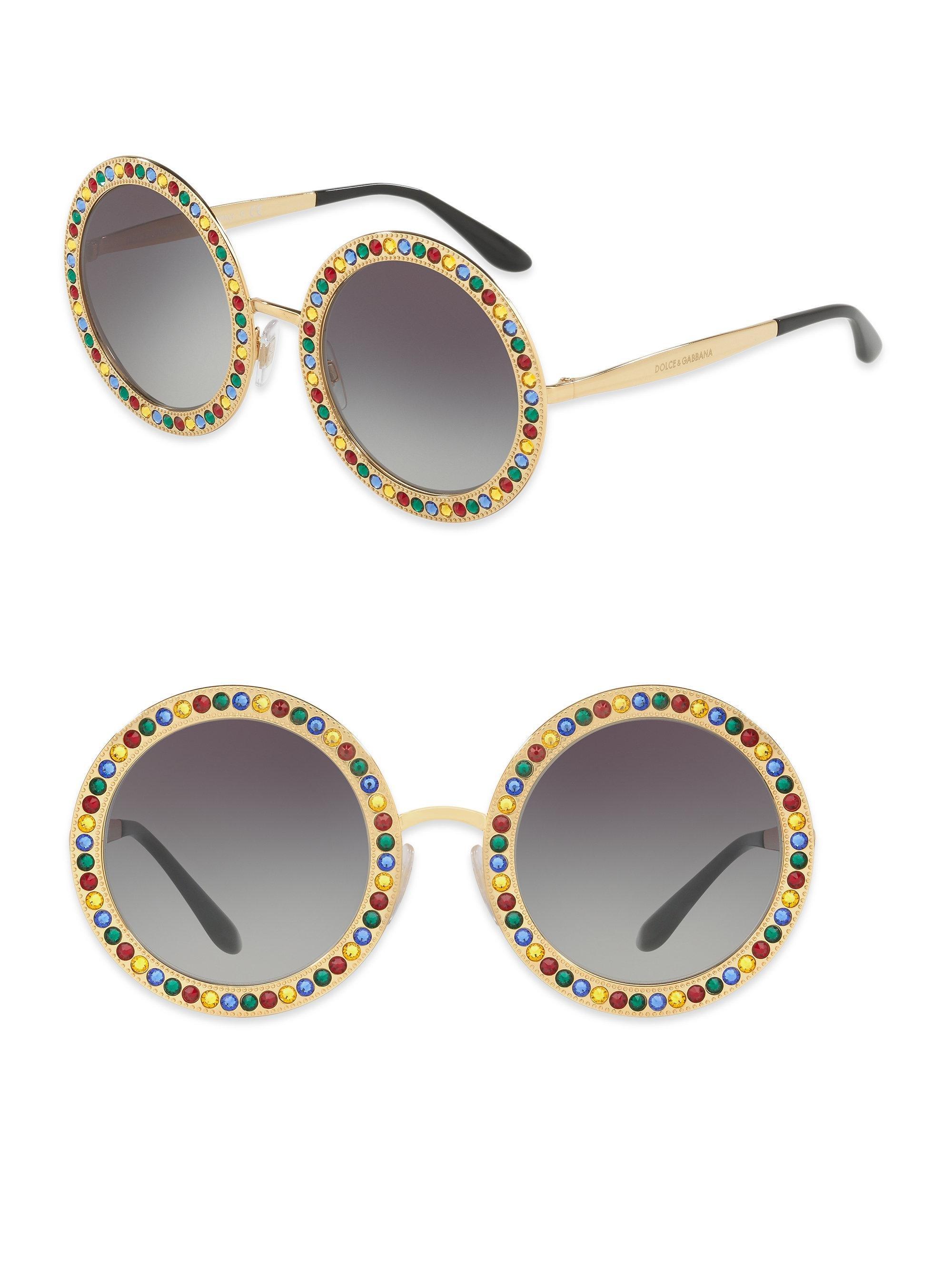 eab35d1e88f Lyst - Dolce   Gabbana 51mm Crystal-trim Round Sunglasses in Metallic