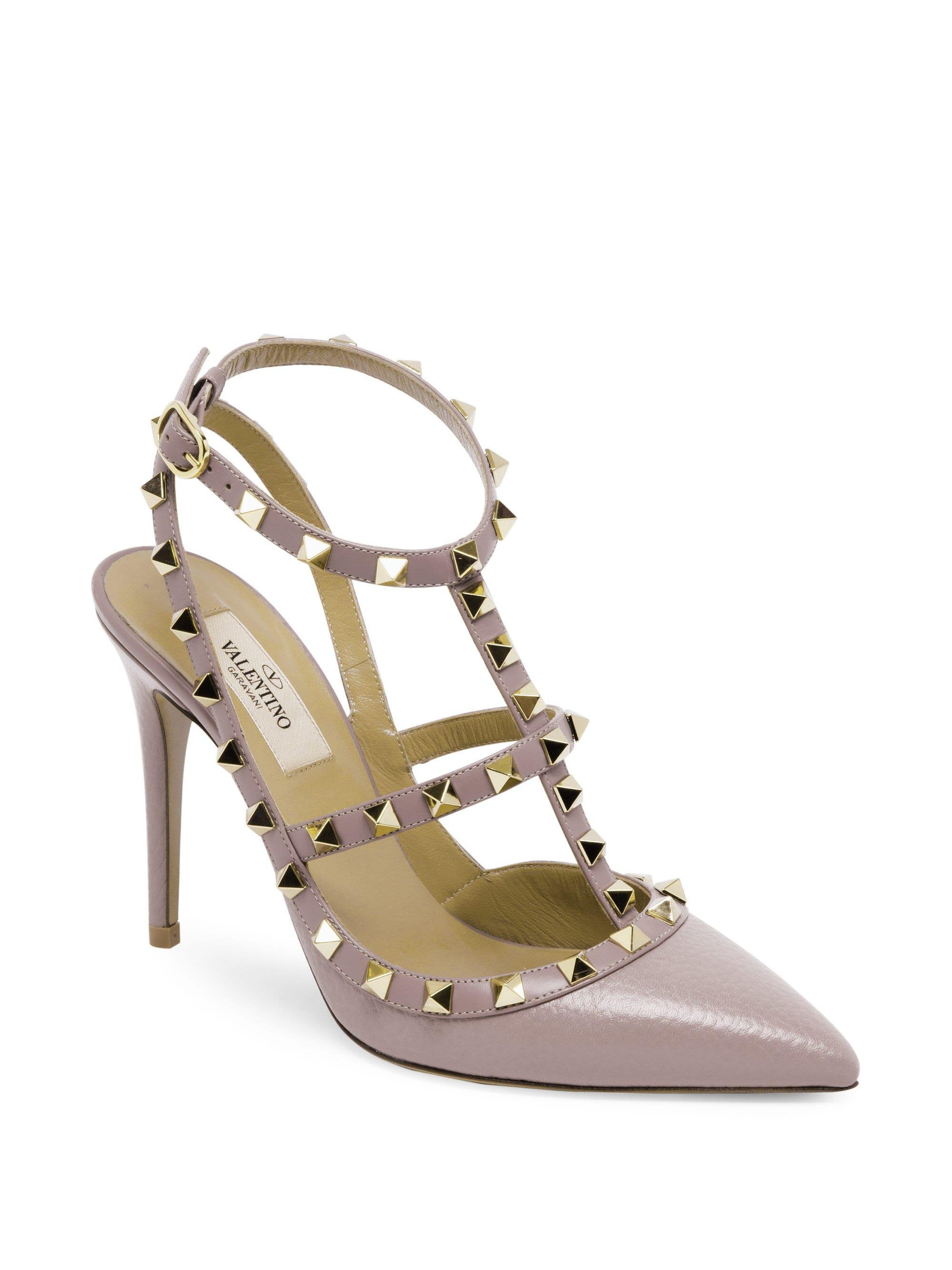 6596f2eec22 Valentino - Pink Rockstud Leather Ankle-strap Pumps - Lyst. View fullscreen