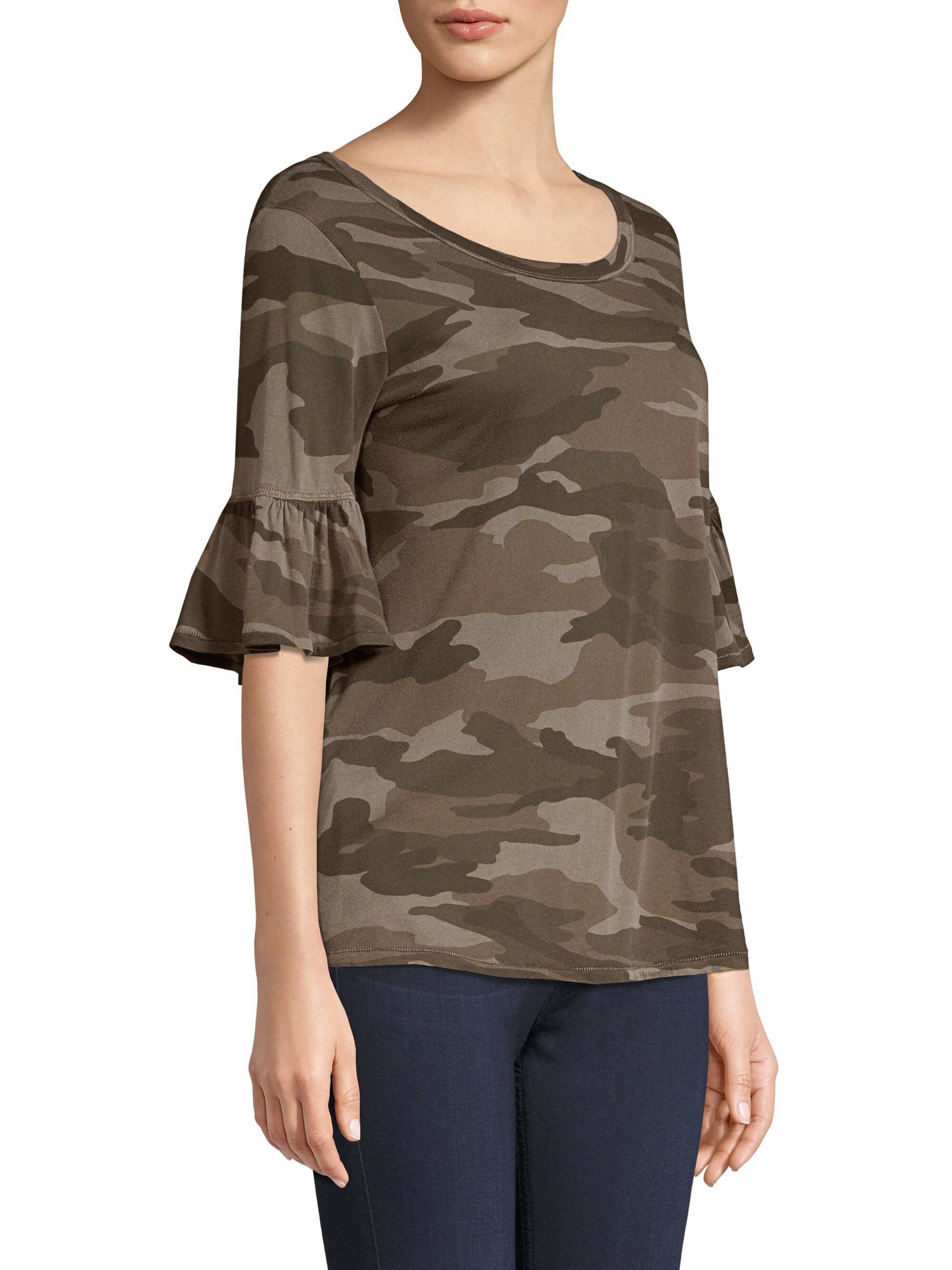 e5232be2e Splendid Camo Ruffle T-shirt - Lyst
