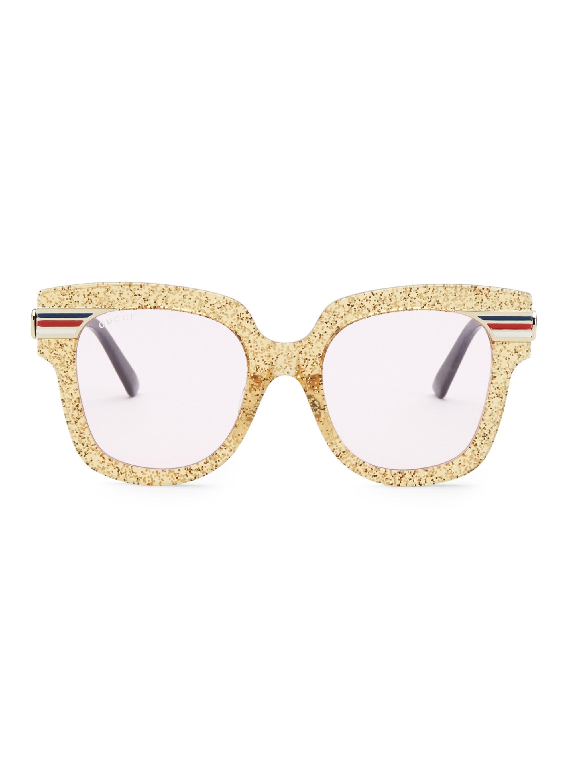 b3a1001169 Lyst - Gucci Women s 51mm Square Sunglasses - Pink Gold
