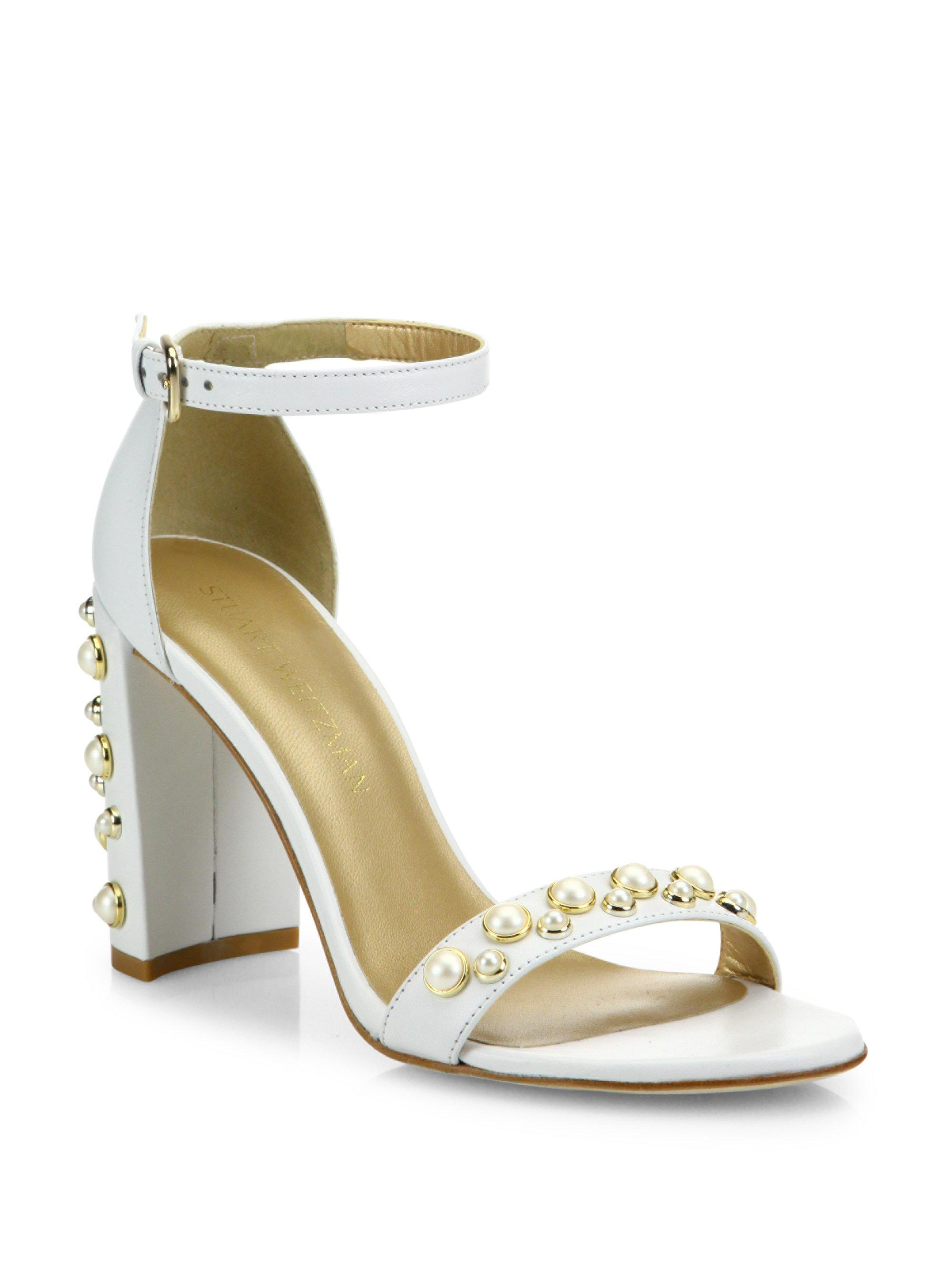 eadf47fcad18 Lyst - Stuart Weitzman Morepearls Studded Leather Ankle Strap ...