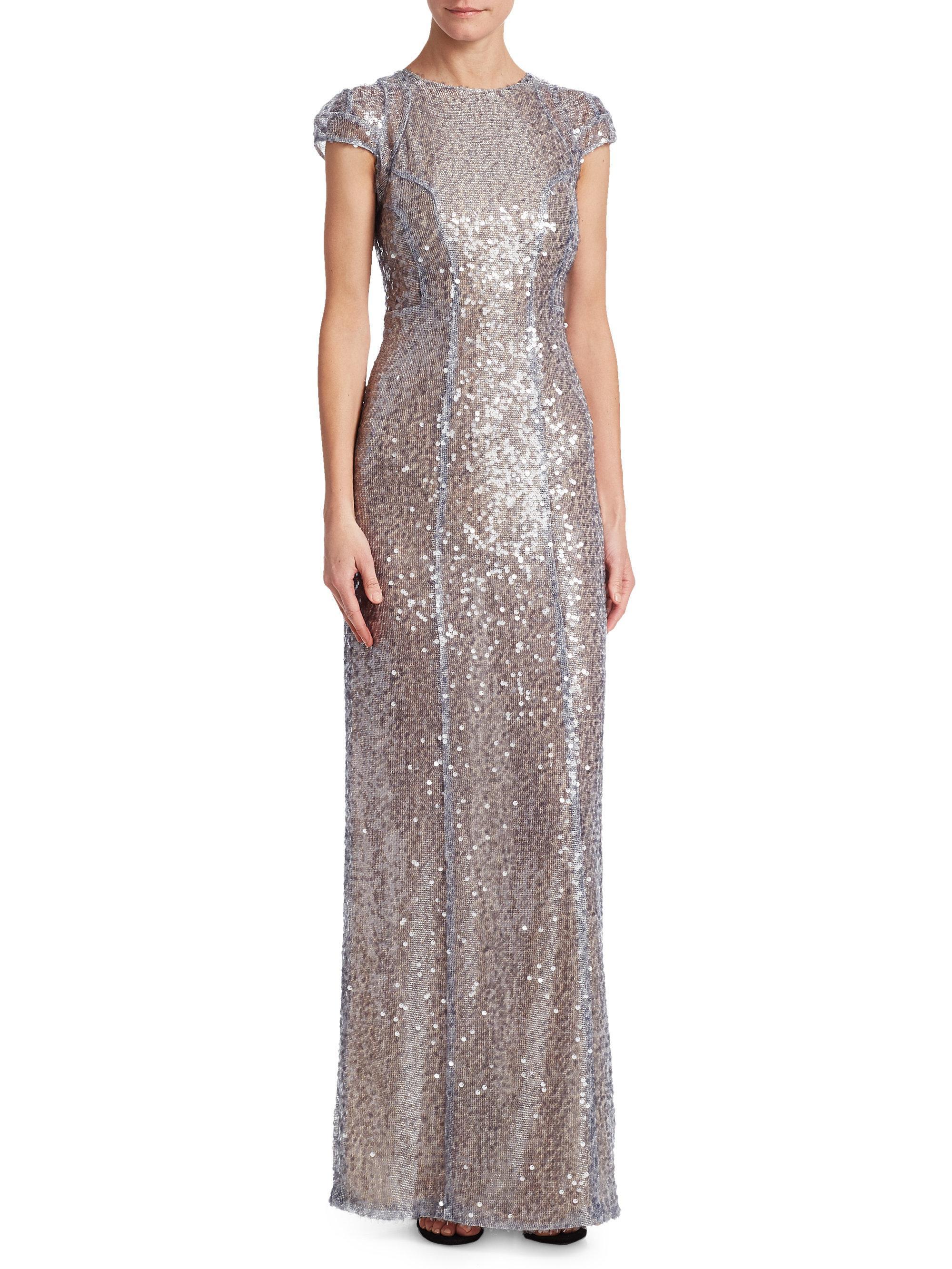Estrella cap sleeve dress - Metallic Galvan ATiewI