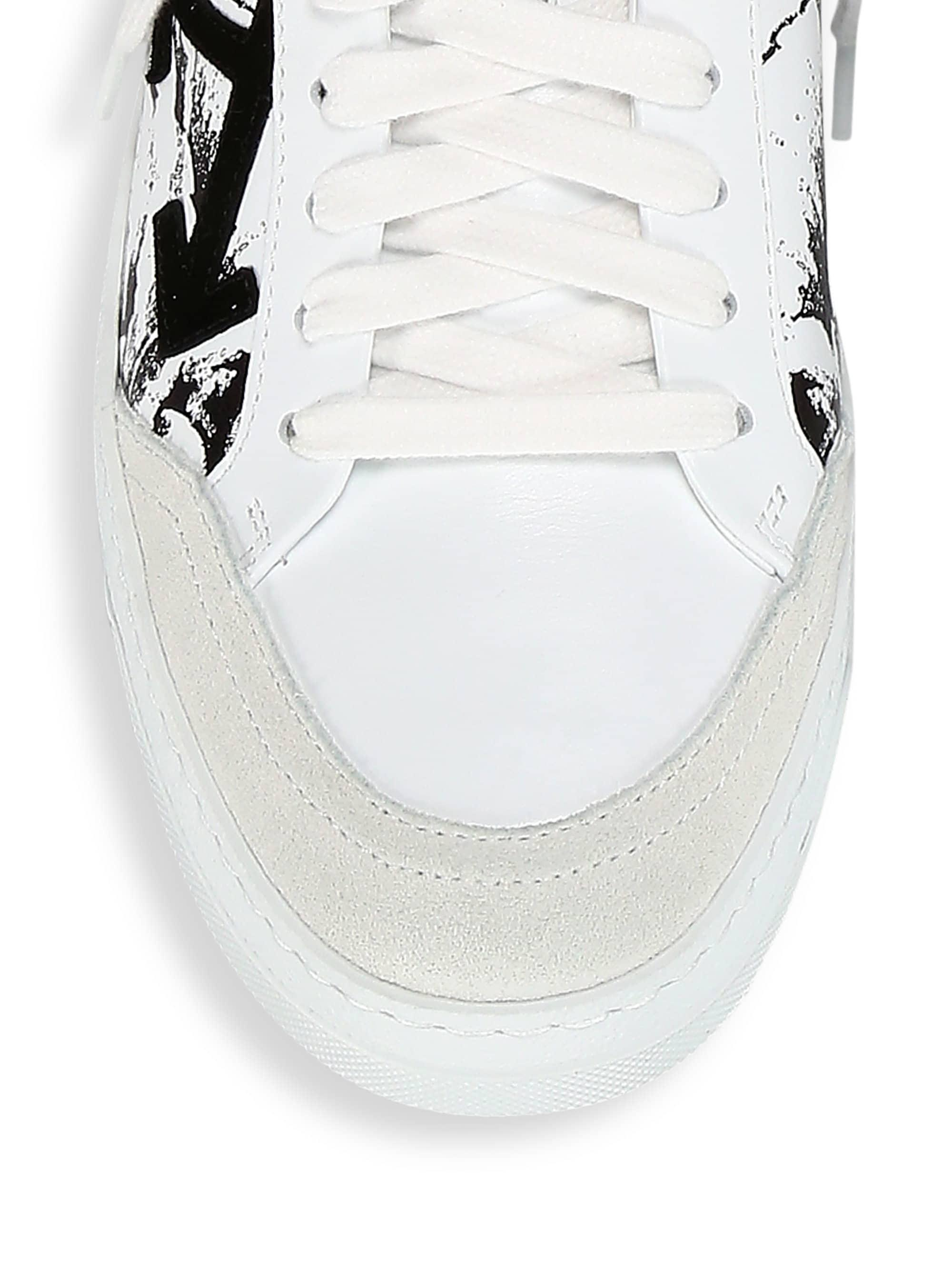 ce98b80921c8 Off-White c o Virgil Abloh Women s Floral Leather Sneakers - White Black in  White - Lyst