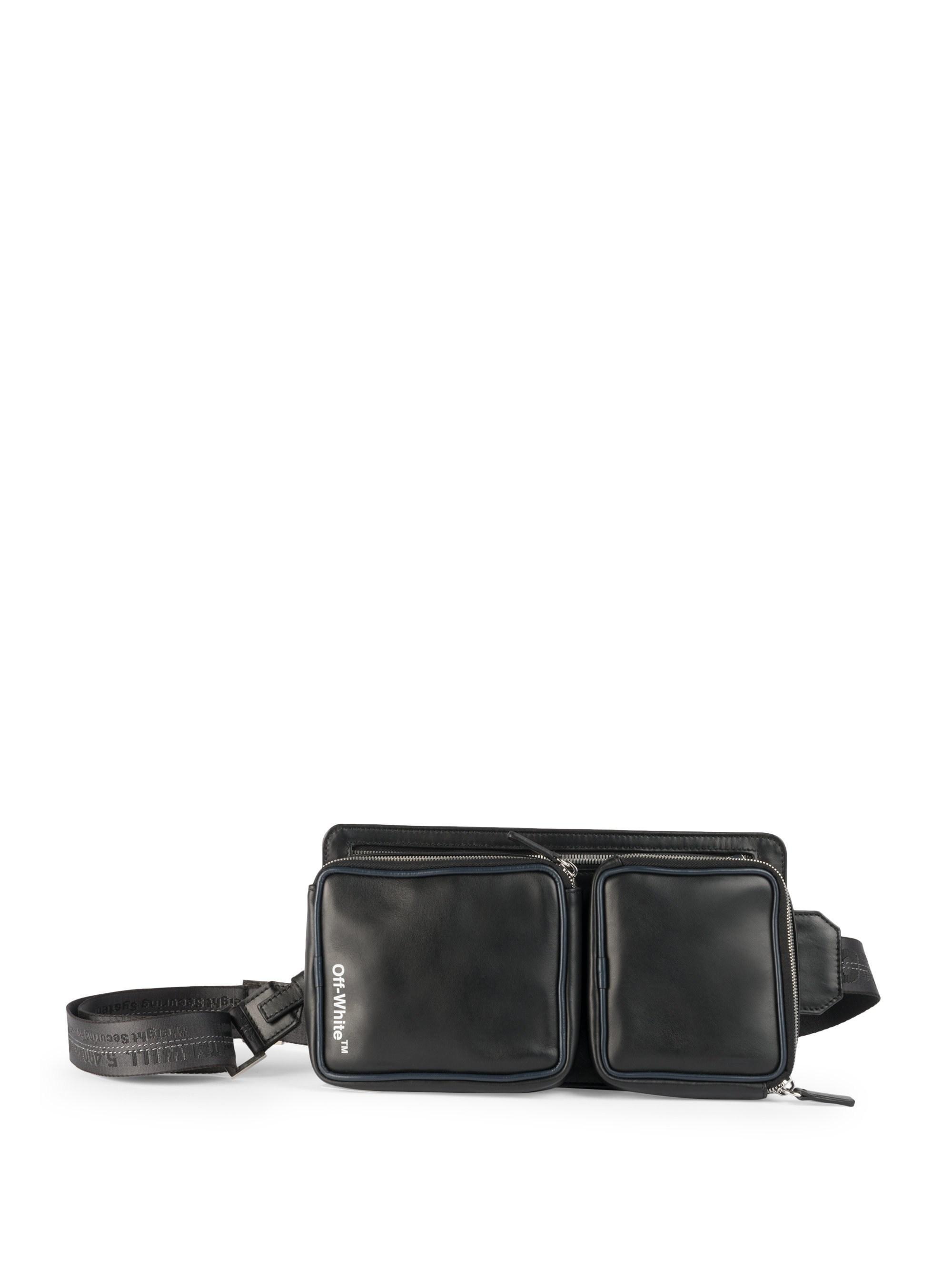 1513832b070e Off-White c o Virgil Abloh Men s Logo Leather Belt Bag - Black White ...