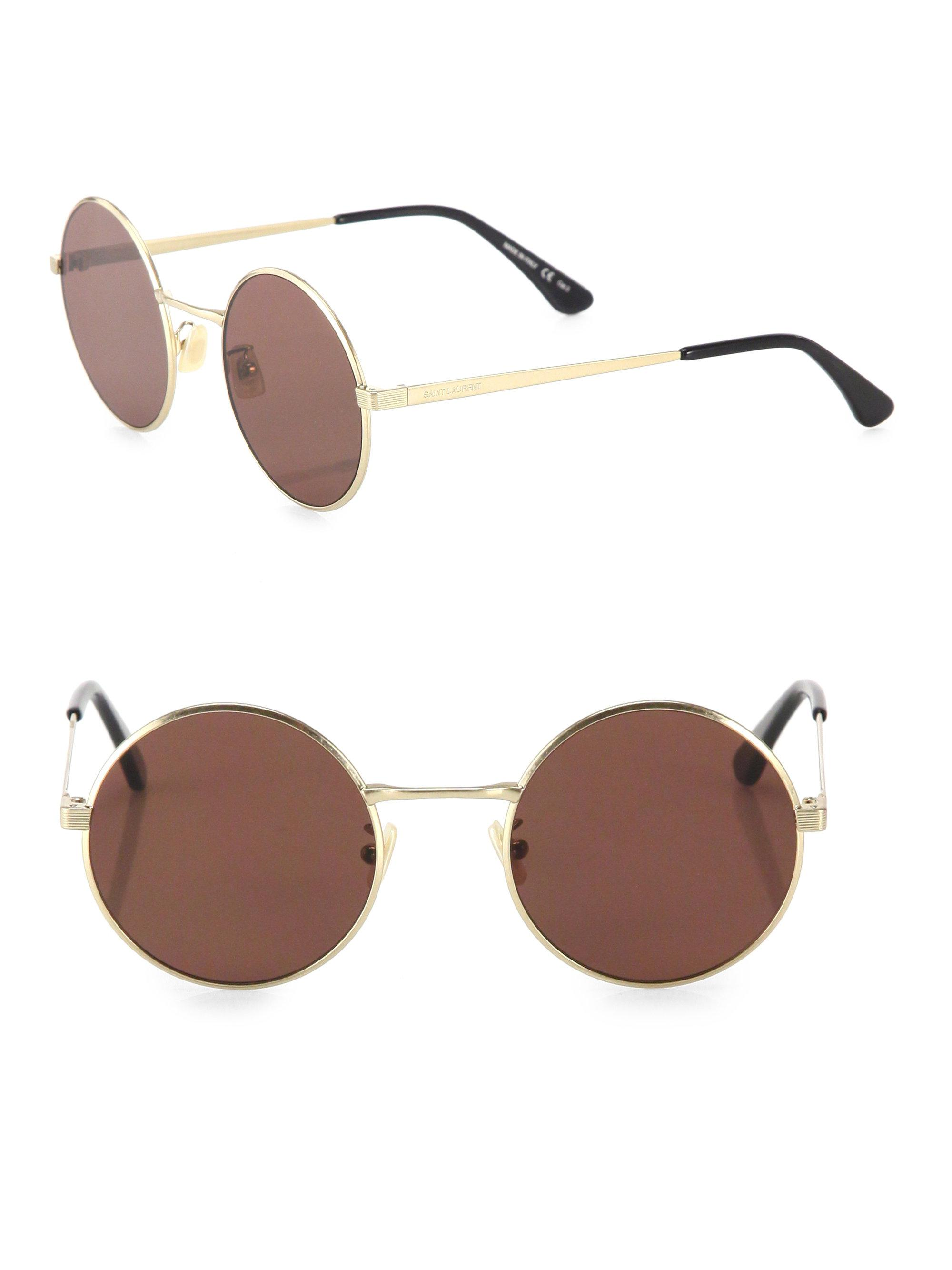 15643f06a6 Saint Laurent Sl 136 Zero 52mm Round Sunglasses in Metallic - Lyst