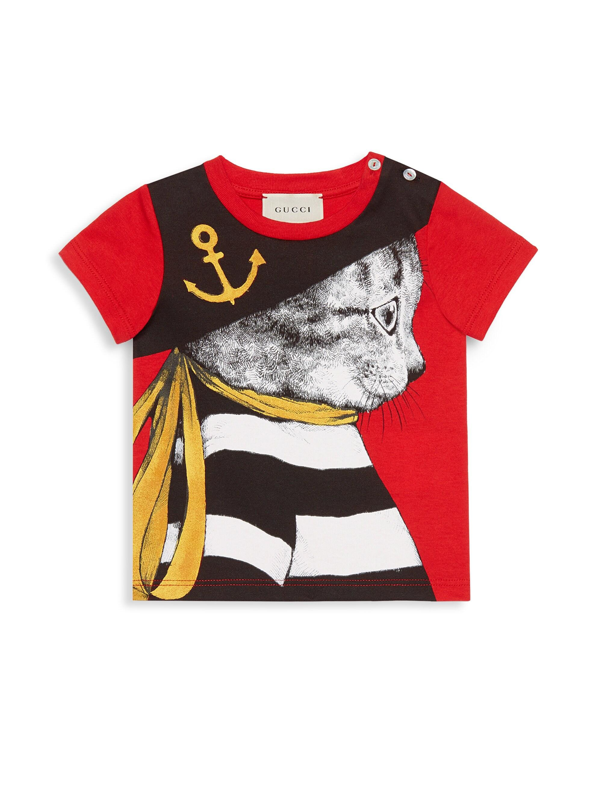 175ba96b6d7d Lyst - Gucci Baby Boy s Pirate Feline Tee - Cherry Red in Red for Men