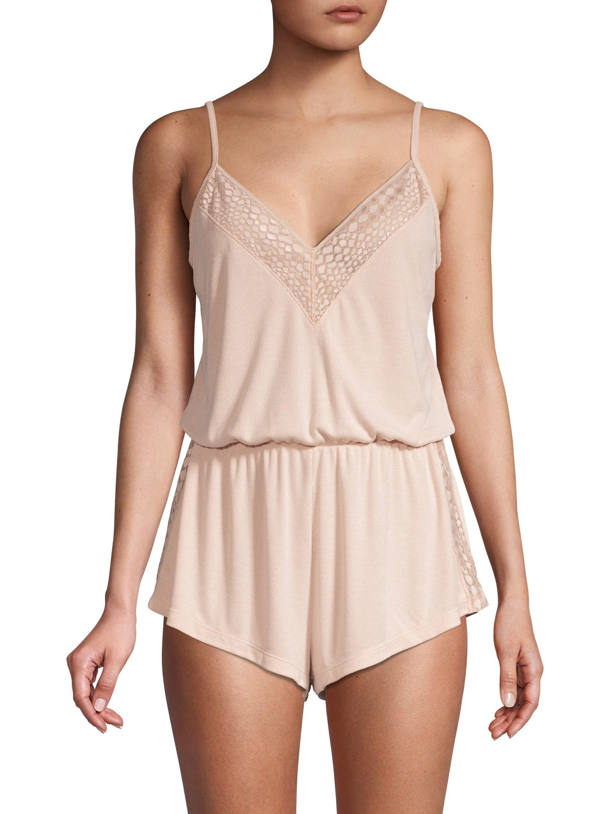 eb072484bcee Cosabella Women s Sweet Dreams Lace-trim Sleep Romper - Pink Dust Snake -  Size Small in Pink - Lyst