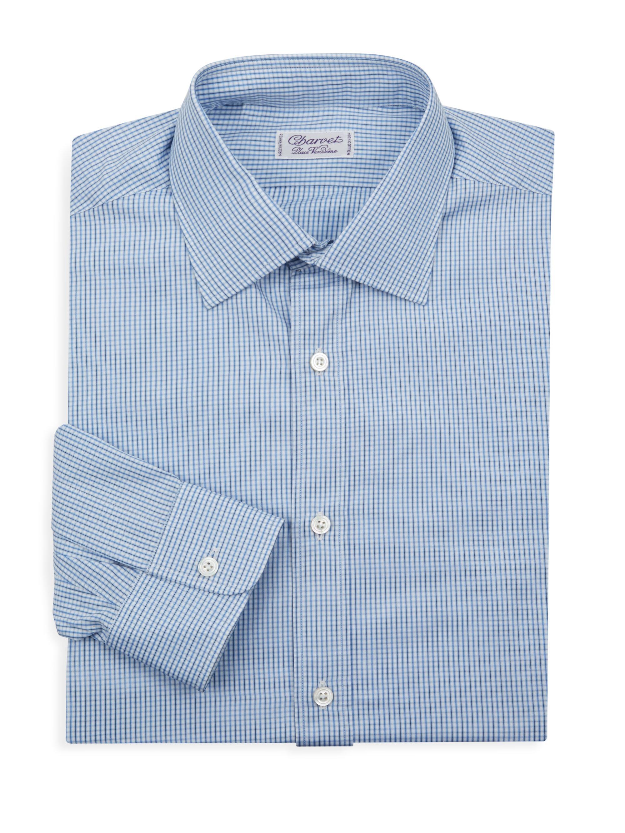 Lyst charvet pinstripe regular fit dress shirt in blue for Regular fit dress shirt