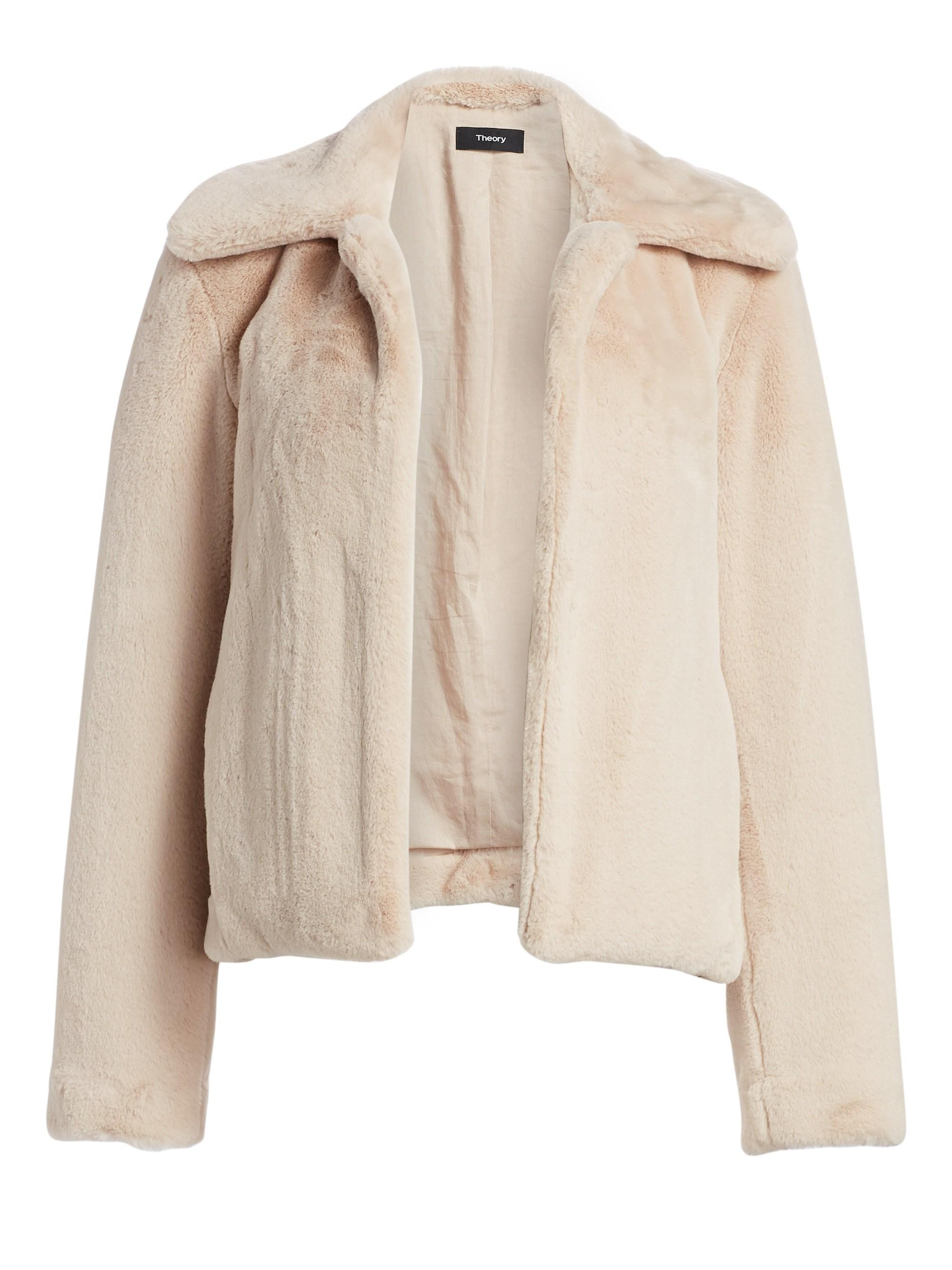 cdcd1d8474 Lyst - Theory Luxe Faux Fur Jacket in Natural