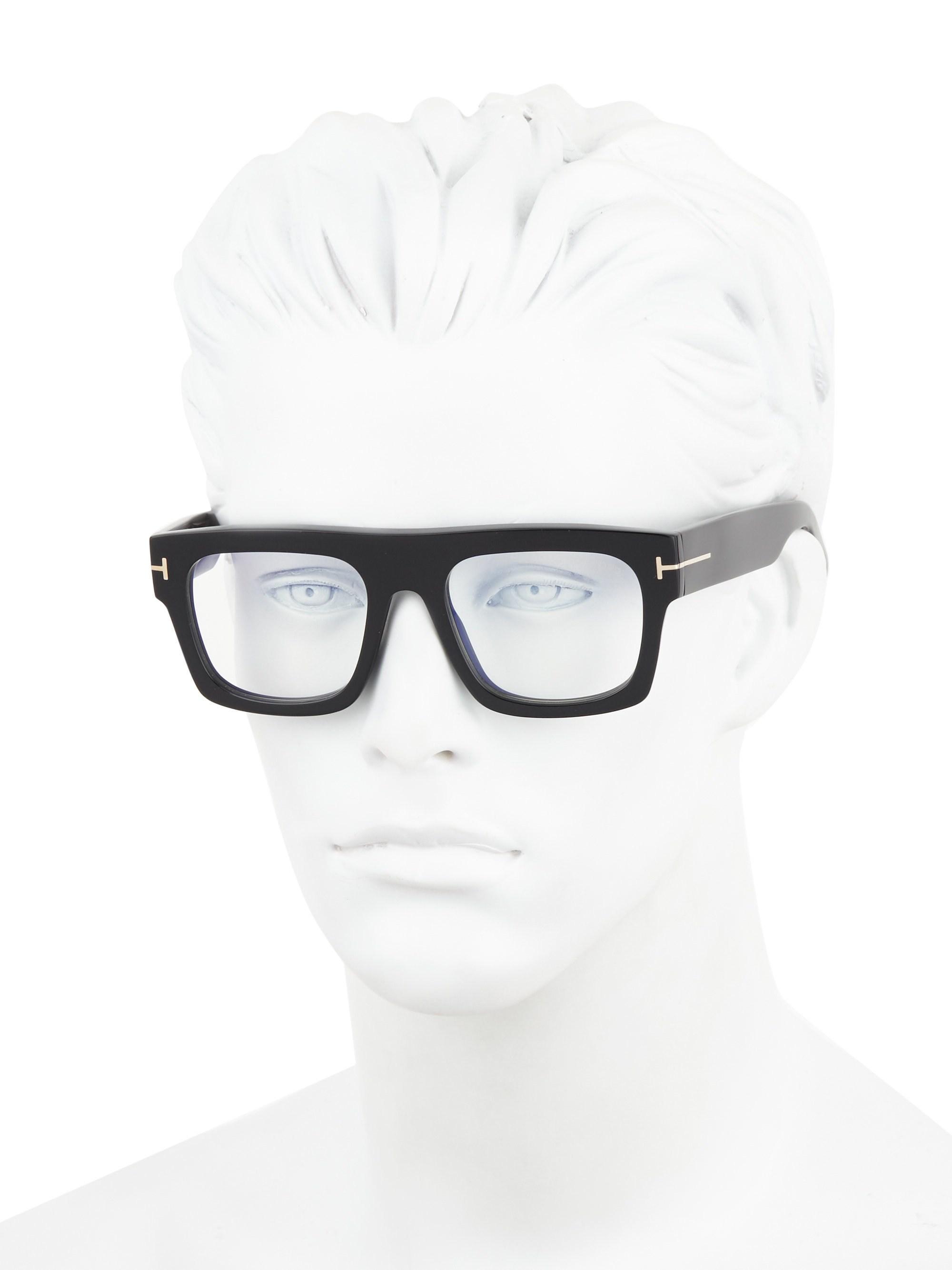 fe28bcfe71 Lyst - Tom Ford 53mm Blue Block Optical Glasses in Black for Men