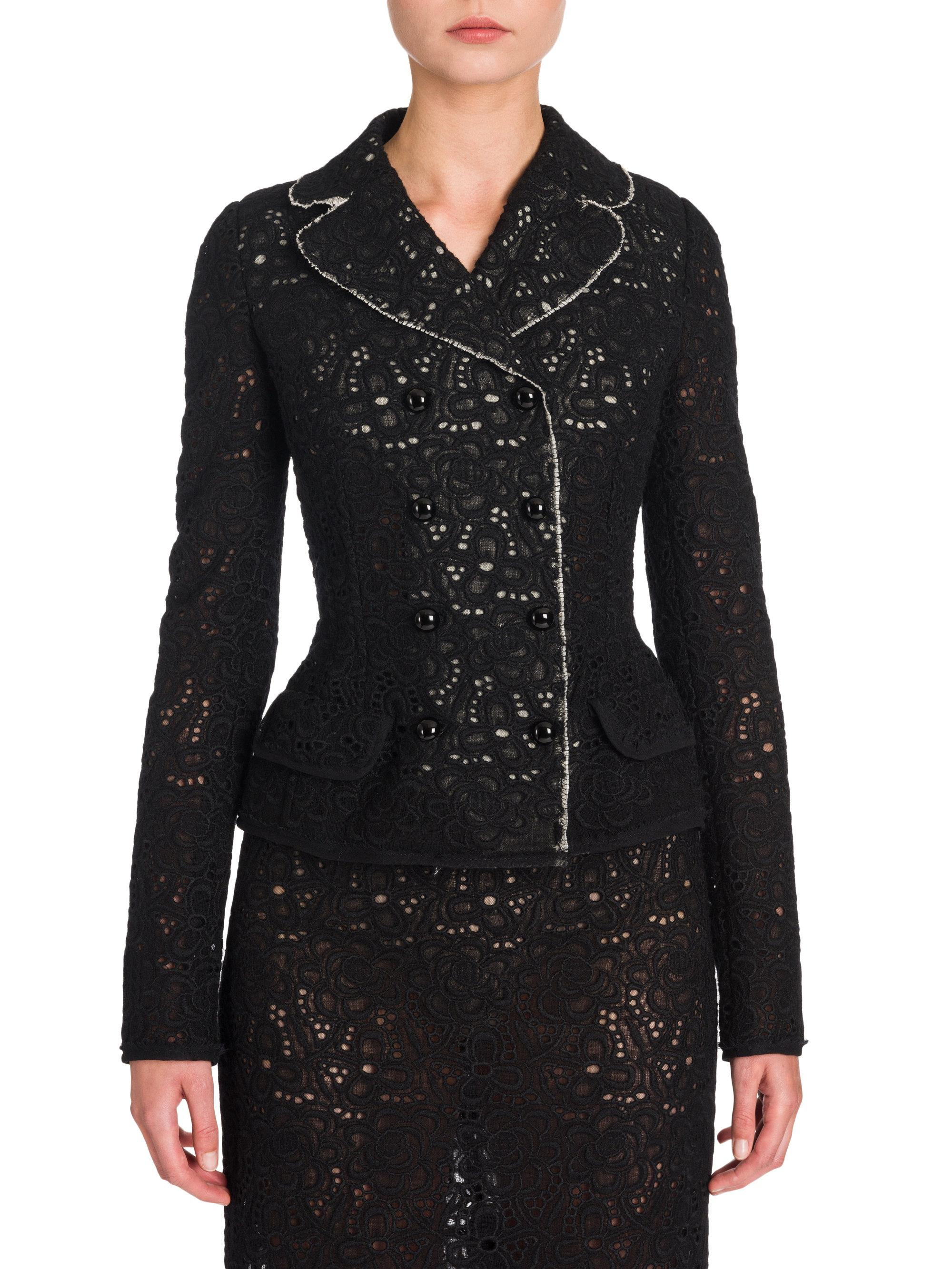 lyst dolce gabbana lace fitted jacket in black. Black Bedroom Furniture Sets. Home Design Ideas