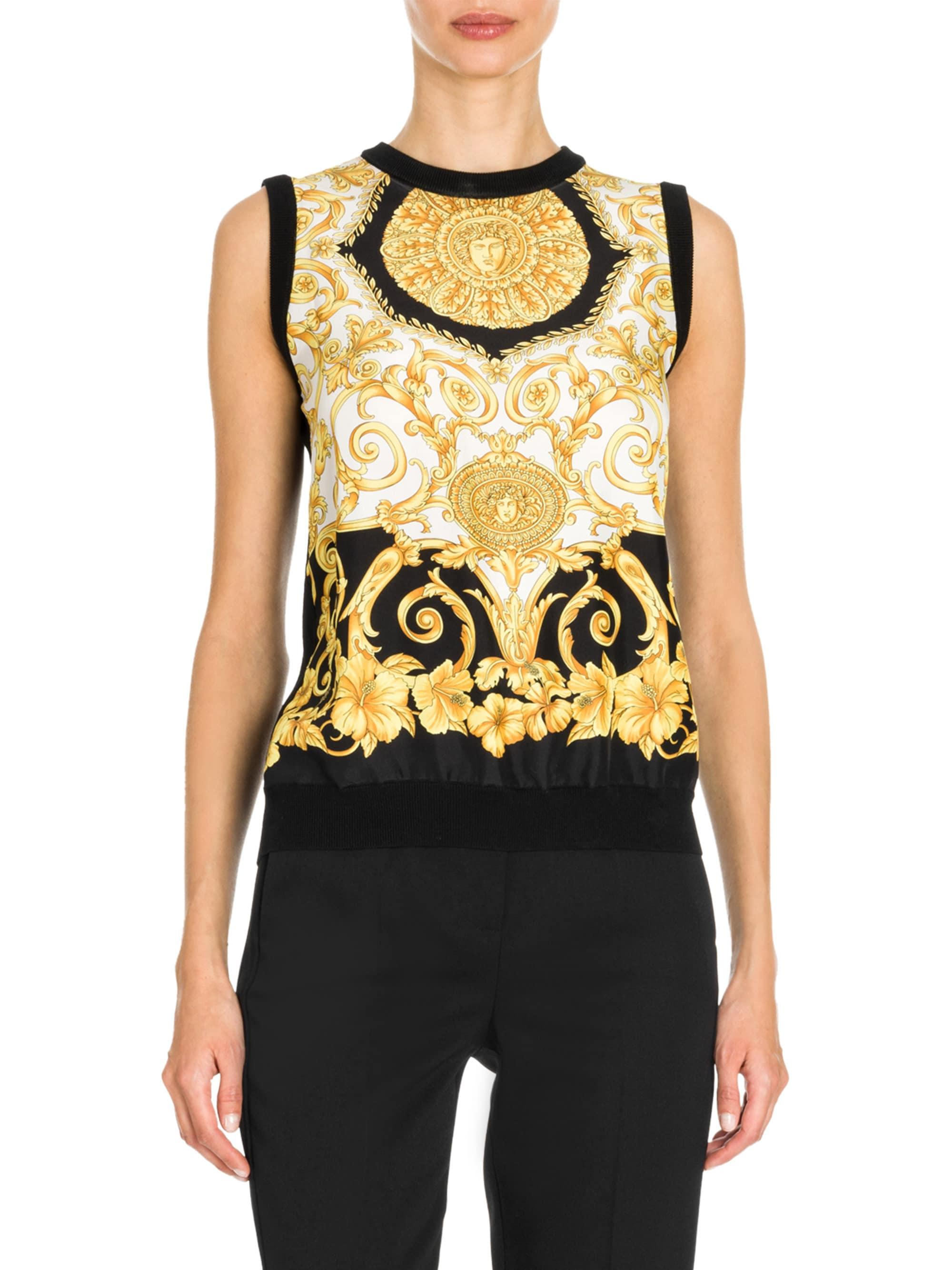 43b63d5f23 Lyst - Versace Hibiscus Print Silk Top in Black