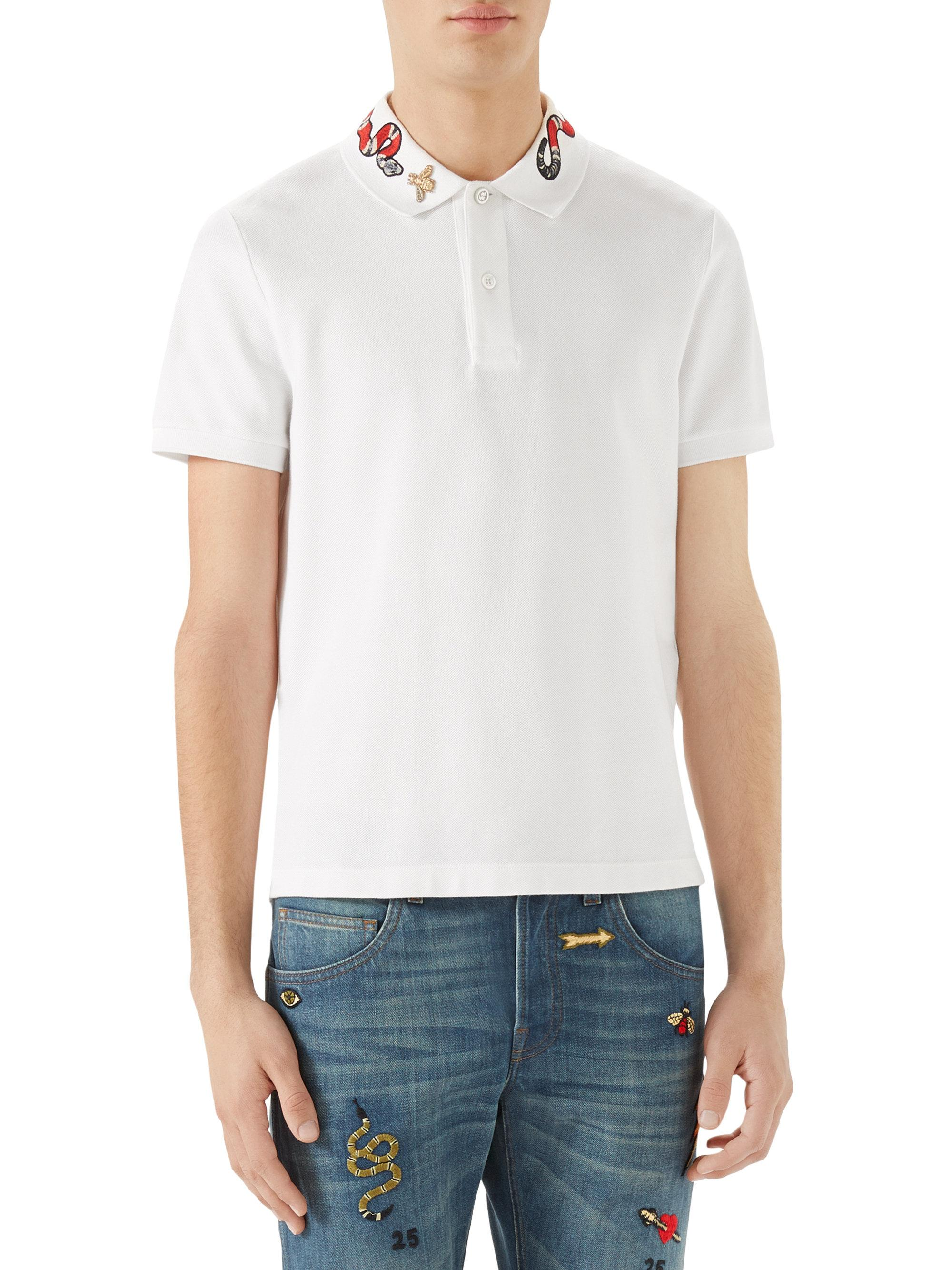 9bf1ef9e Gucci Cotton Kingsnake Embroidered Polo Shirt in White for Men - Lyst