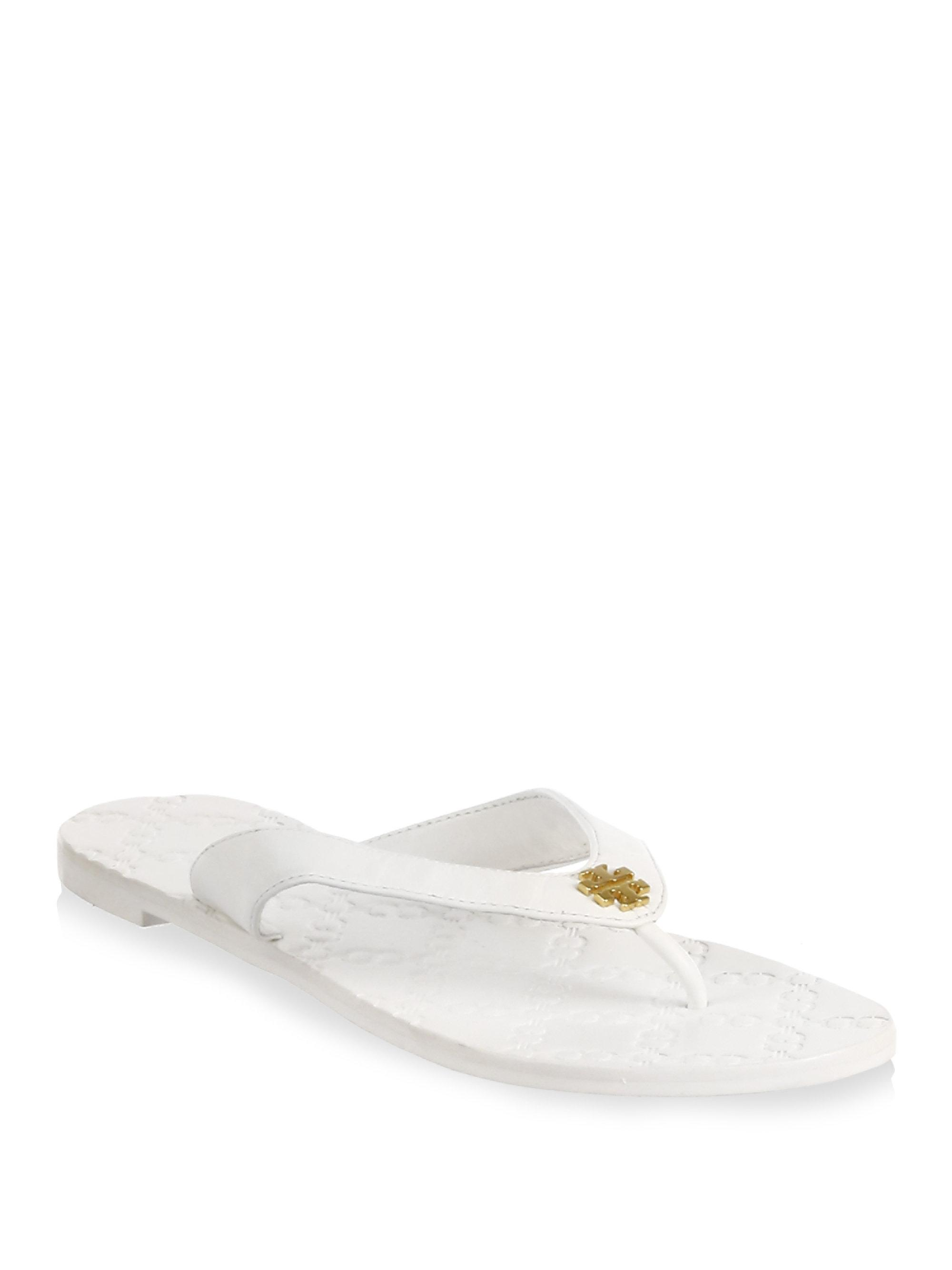 4ab7c318701851 ... france tory burch. womens white monroe leather thong sandals 40966  3099d ...