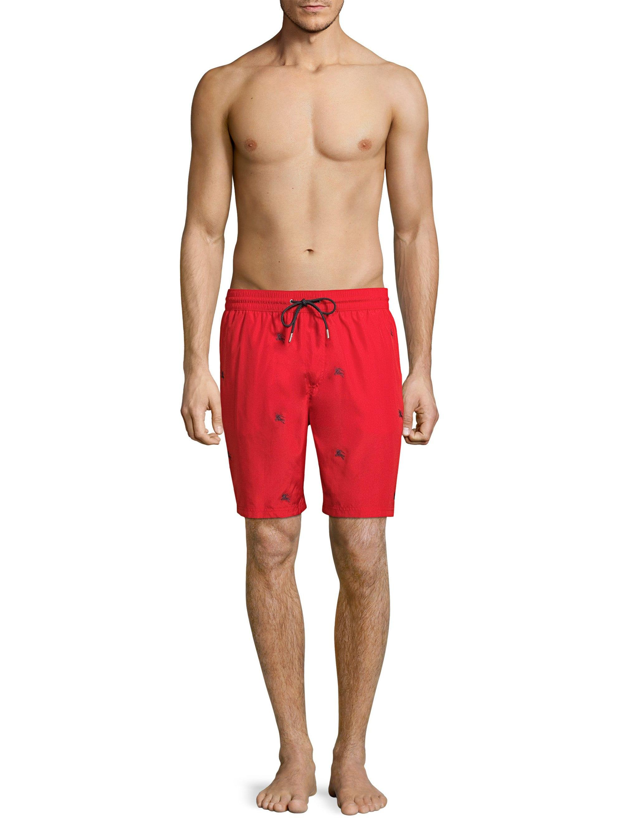 7d6847b575 Lyst - Burberry Men's Embroidered Logo Swim Trunks - Parade Red ...