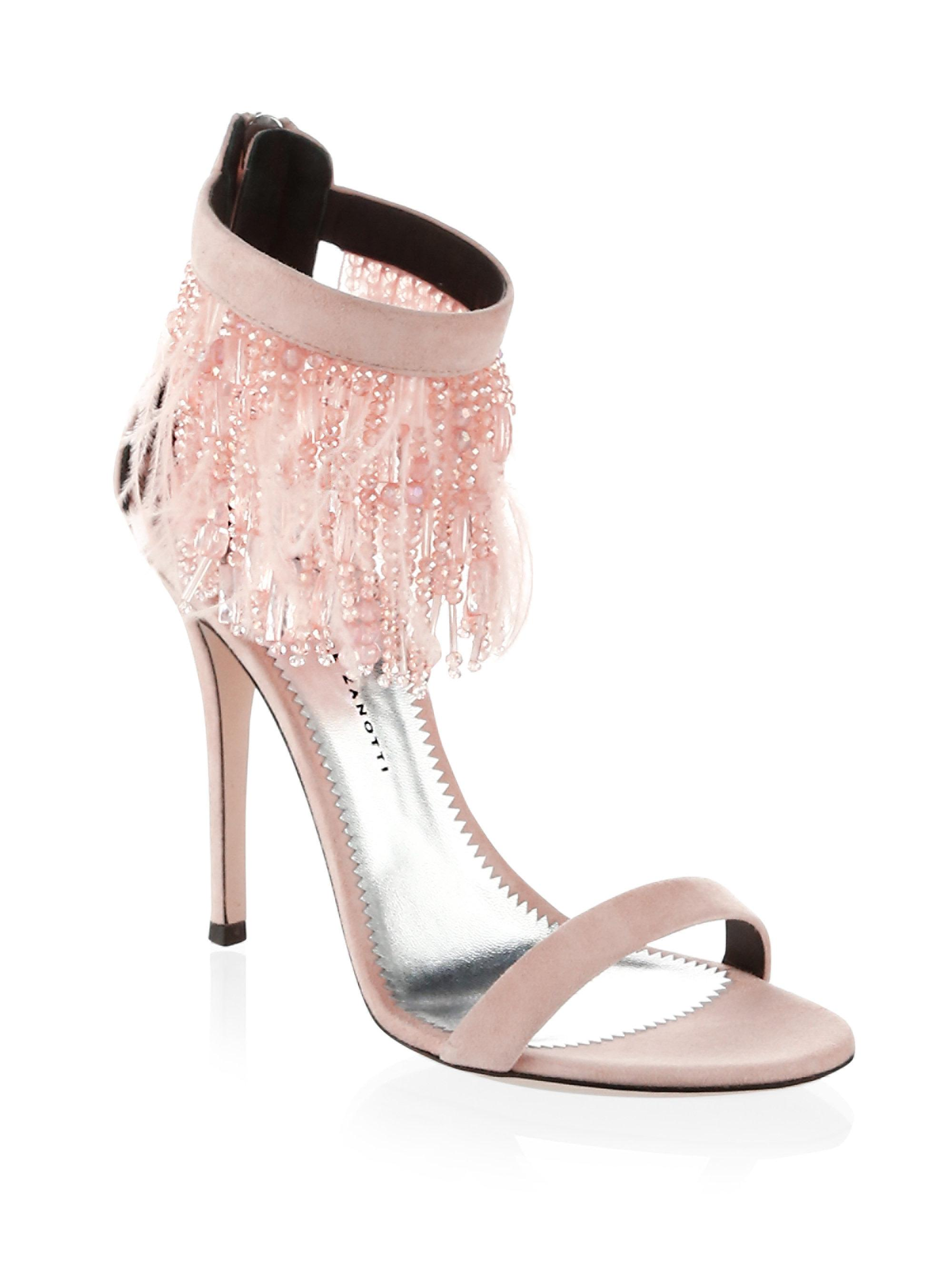 Giuseppe Zanotti Feather and bead trim sandals Cheap 2018 New zdhQmn9i4Q